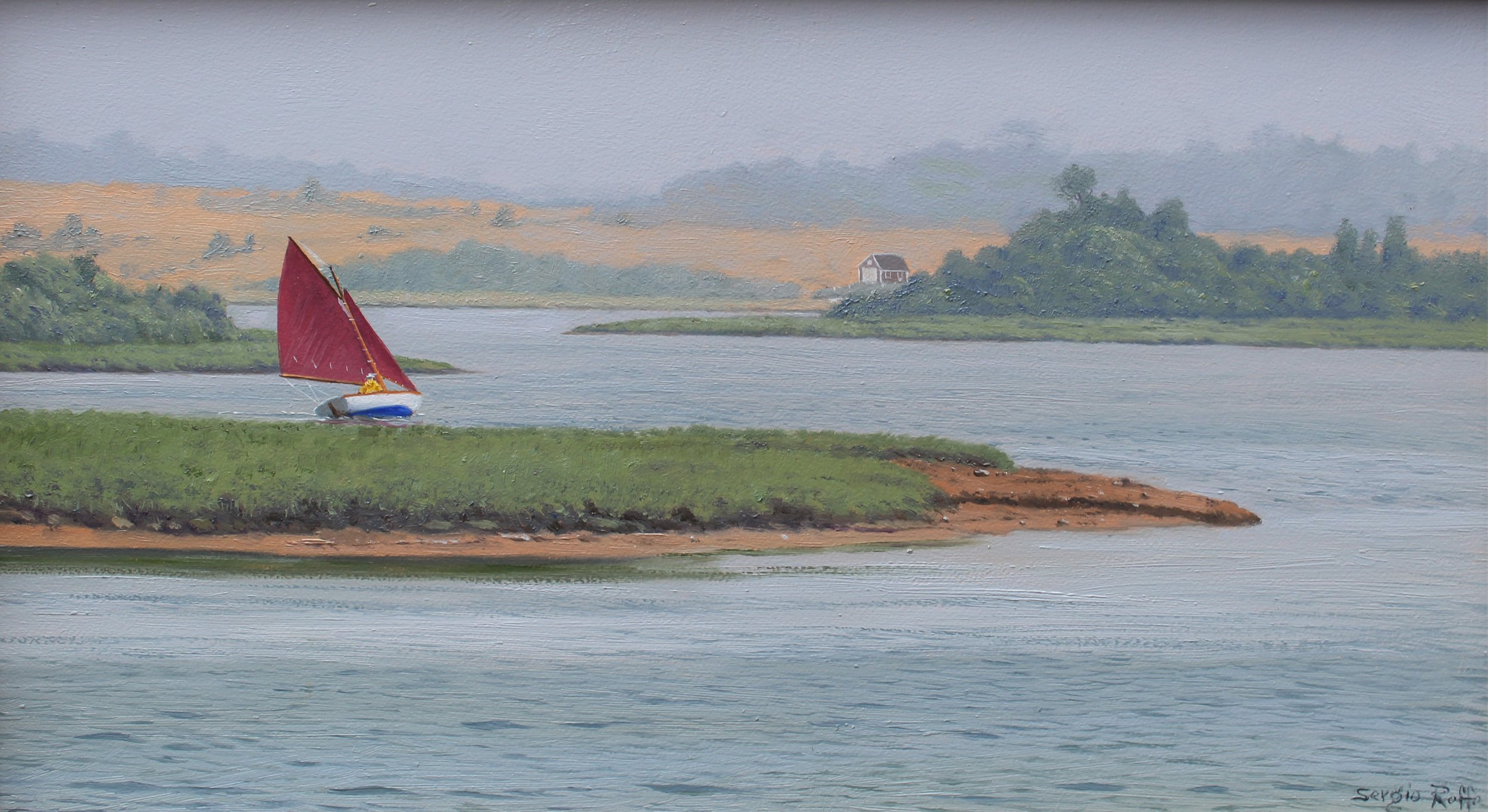 SERGIO ROFFO    Herreshoff Tacking, Chilmark, MA    A Herreshoff 12.5 with tanbark sails navigates the waterways of Chilmark Pond in Martha's Vineyard.  10 x 18 inches