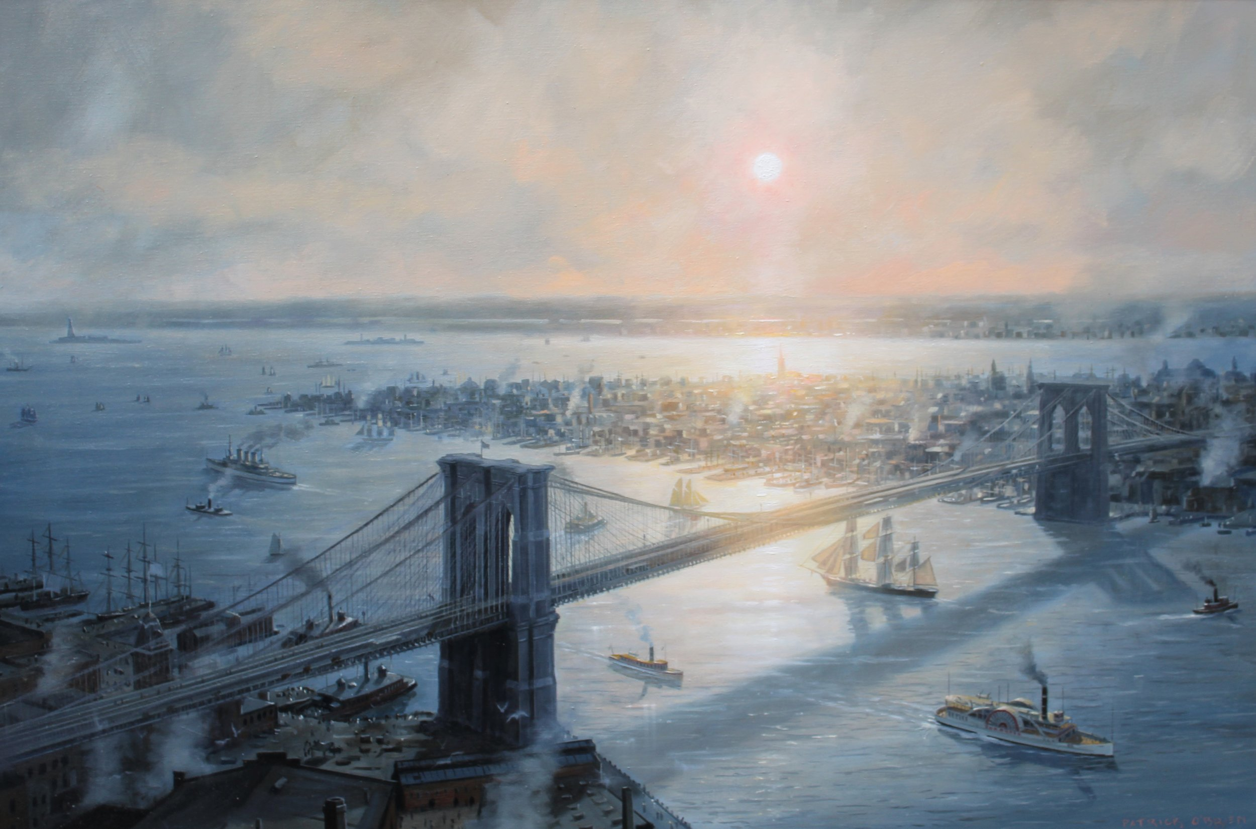 PATRICK O'BRIEN    Manhattan c. 1900    The painting presents a view of old New York from a point above Brooklyn, looking towards Manhattan. New York was a horizontal city in those pre-elevator days. The newly completed Brooklyn Bridge towered over the city. In this view, the tall spire of Trinity Church is at center, in the glare of the sun. It is still there to this day, but can be difficult to see among the skyscrapers that have sprung up around it. Liberty Island and Ellis Island are seen in the distance at left. A paddlewheel steamship heads upriver at right, while a windjammer eases under the bridge, with its uppermost sails and masts lowered to the deck. At left, a modern battleship has left the Brooklyn Navy Yard and is headed out to sea, passing an old-fashioned monitor-style Navy warship, probably on its last cruise before heading to the scrapyard.  24 x 36 inches