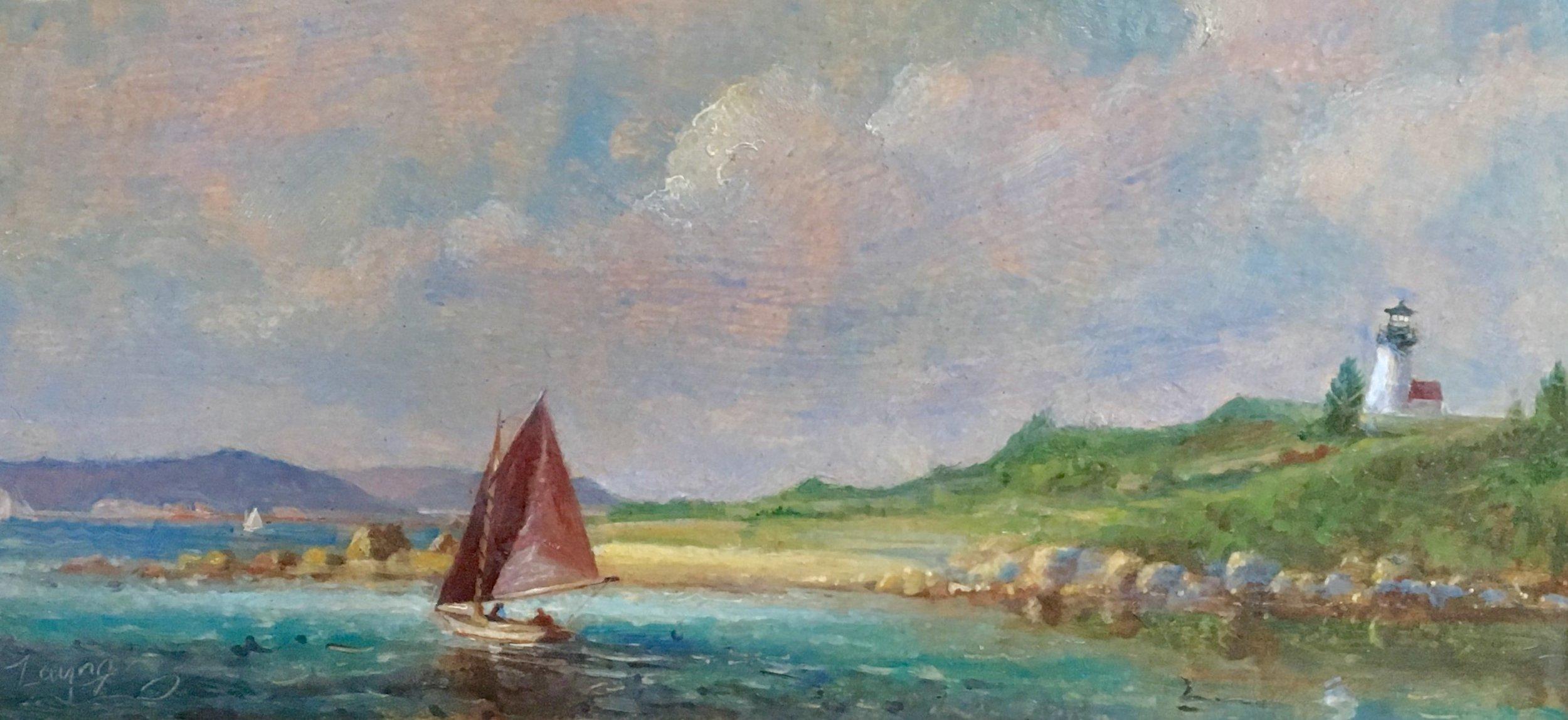 PETER ARGUIMBAU    Herreshoff, Tarpaulin Cove, MA    A Herreshoff with tanbark sails passes by Tarpaulin Cove Lighthouse, built in 1891, on the quaint Naushon Island.  8 x 16 inches