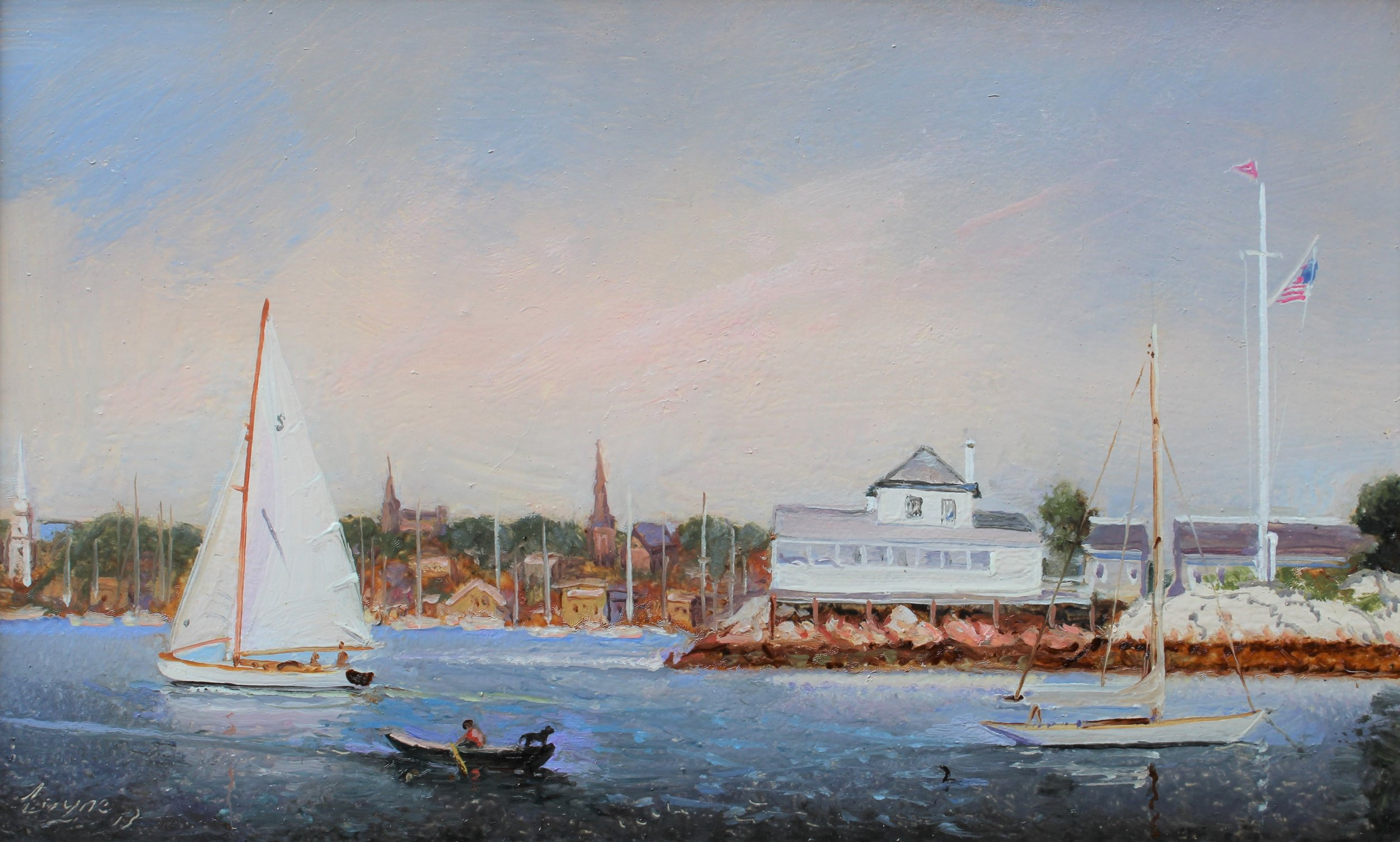 PETER ARGUIMBAU    Ida Lewis    The yacht club, named after the heroic lighthouse keeper, is located on Lime Rock in Newport Harbor. Ida Lewis is famous for saving the lives of sailors in danger. She first rescued four men in 1854, at the early age of twelve.  10 x 15 inches