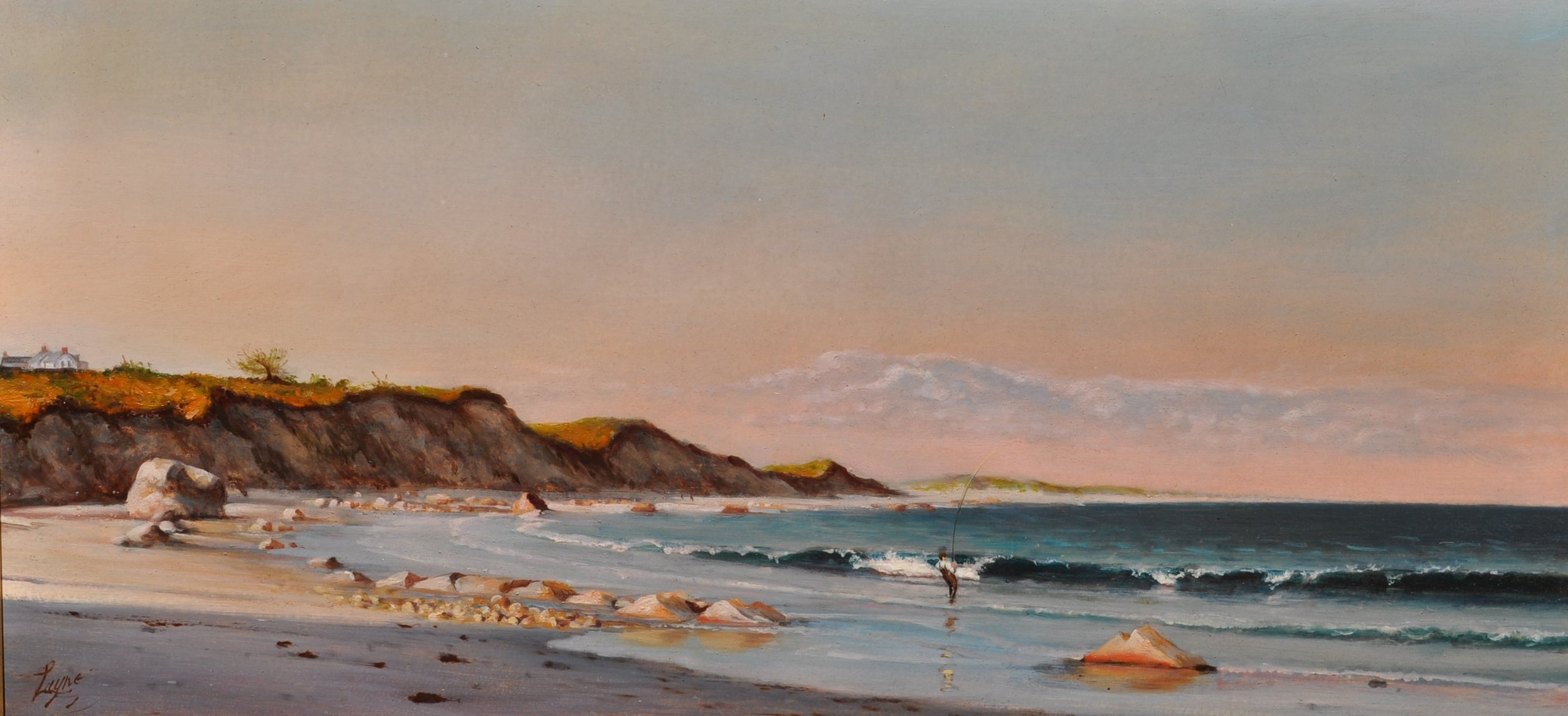 PETER ARGUIMBAU    Surfcaster    Along the beach of Lucy Vincent in the town of Chilmark, MA a fisher tries his luck in the rocky surf.  20 x 40 inches