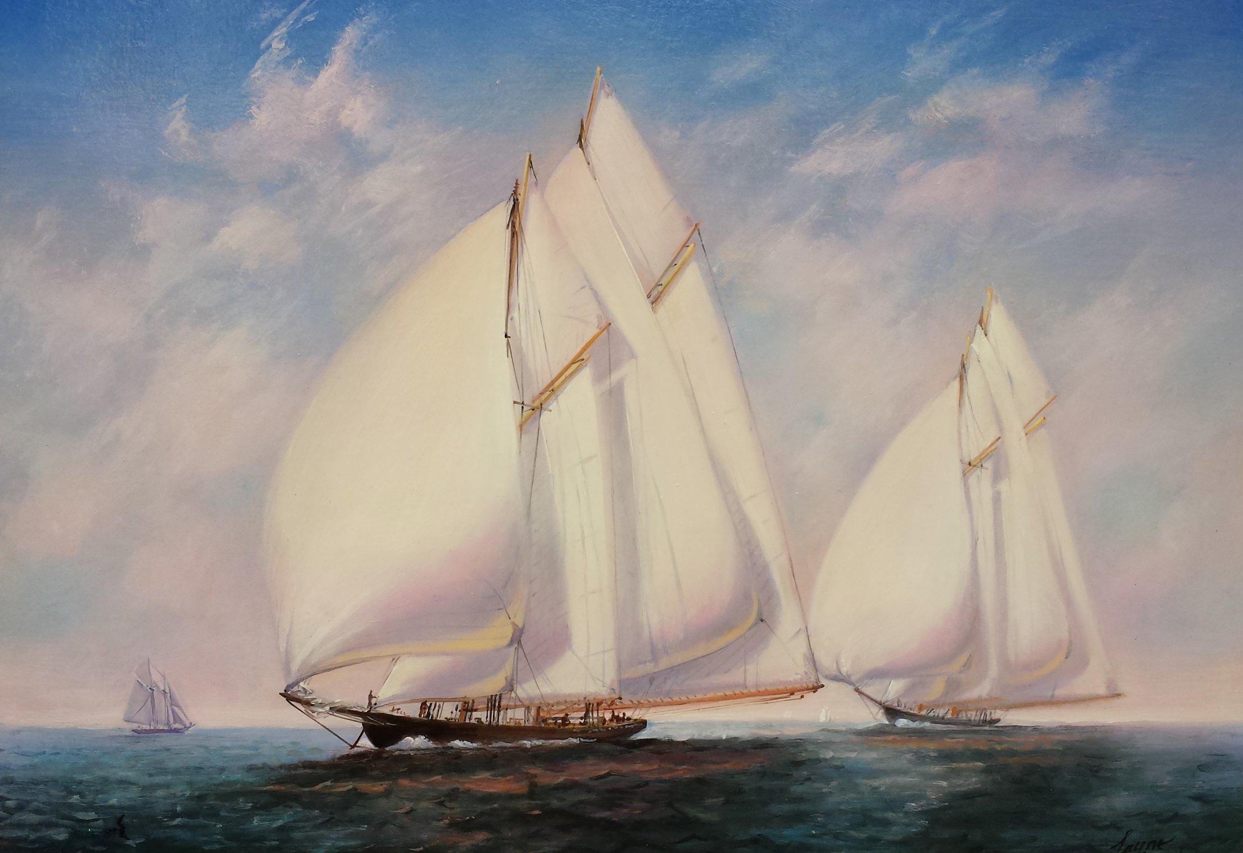 PETER ARGUIMBAU    Schooners Racing    The Gloucester schooners,  Gertrude L. Thebaud  and  Bluenose  racing in 1938.  30 x 36 inches