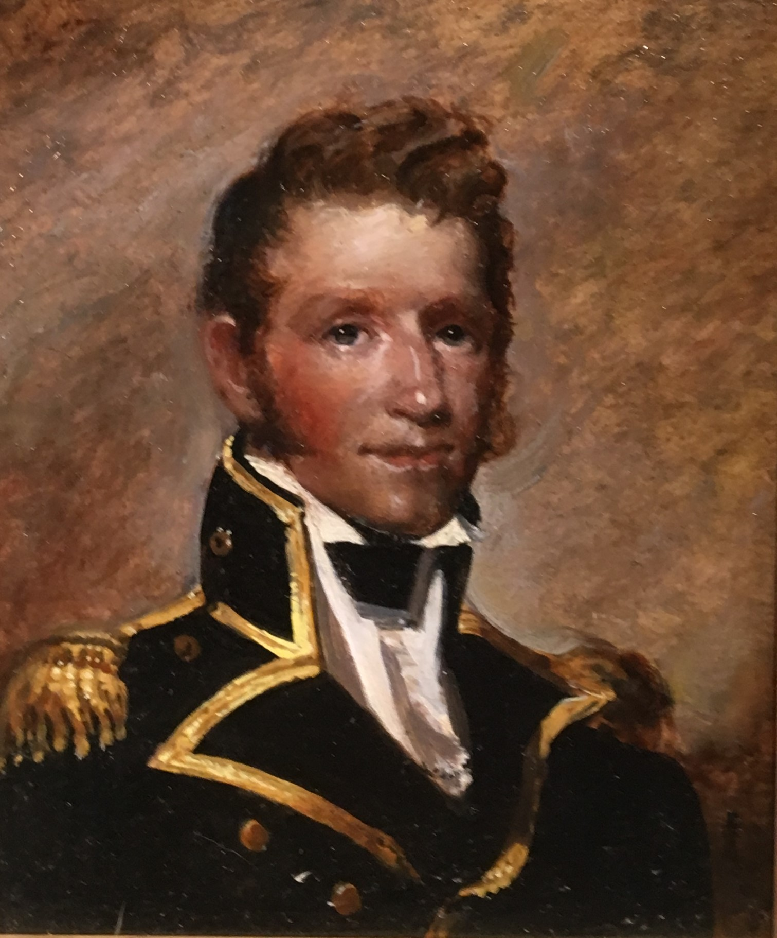"""PETER ARGUIMBAU    Capt. Thomas Macdonough     """"Hero of Lake Champlain""""   Macdonough, in command of  Saratoga , took control of Lake Champlain from the British during the Battle of Plattsburgh (also known as the Battle of Lake Champlain) during the War of 1812.  11 x 9 inches"""