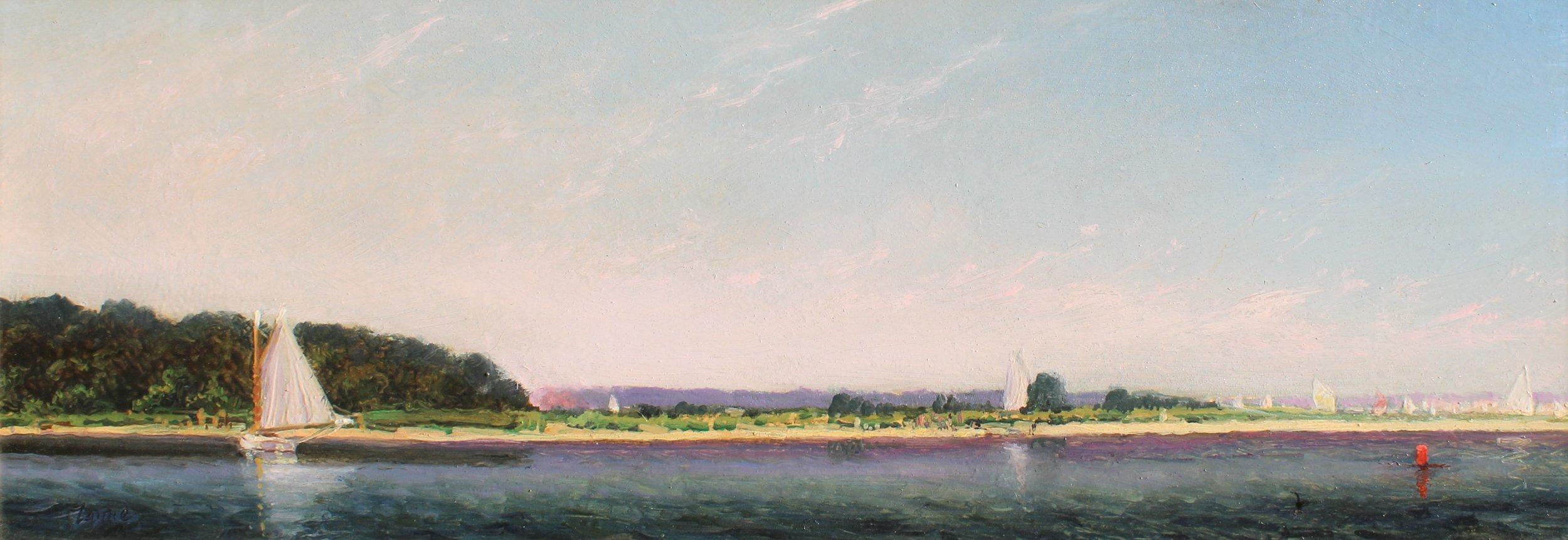 PETER ARGUIMBAU    Catboat Along the Shoreline    9 x 25 inches