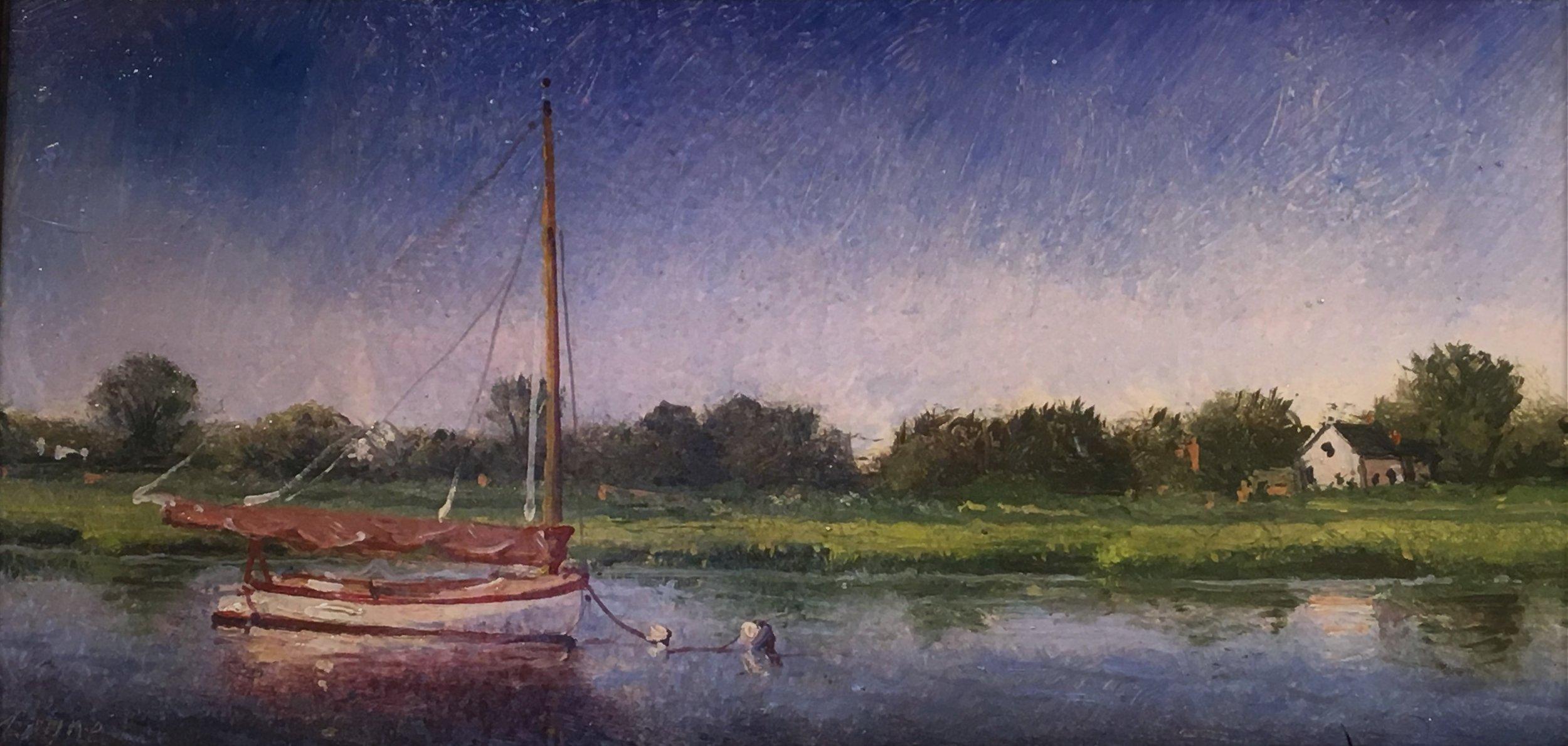 PETER ARGUIMBAU    Catboat at Mooring    8 x 16 inches