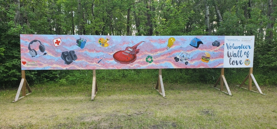 24 FT x 4 FT mural at Winnipeg Folk Festival thanking the volunteers who helped put the festival together!