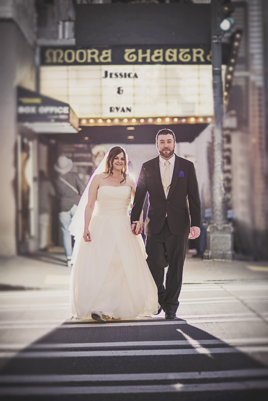Downtown Seattle Wedding_Seattle Wedding Photographer_Urban Wedding_Movie Theater_1