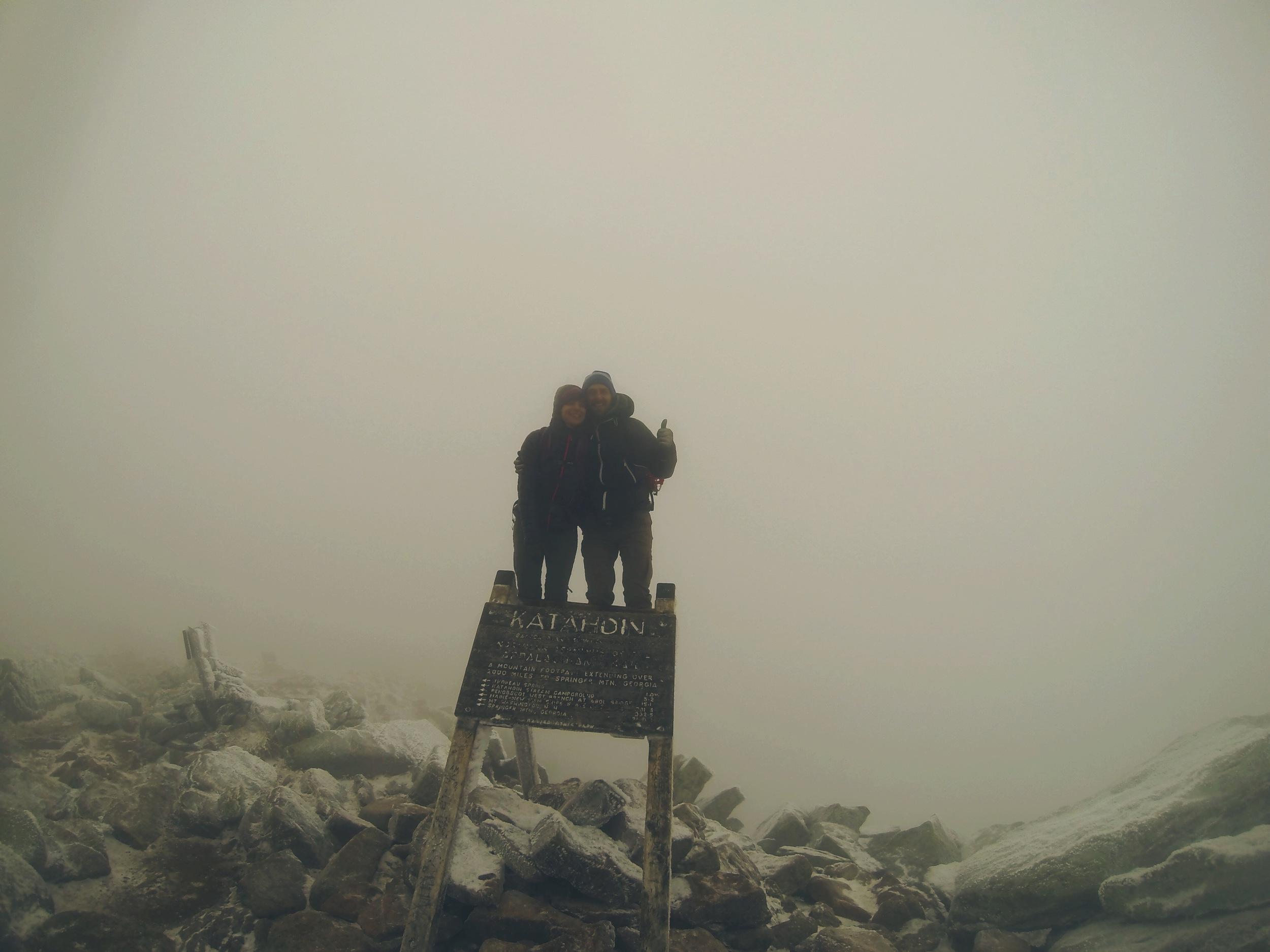 No blue skies here, Moose and Teton on the top of Katahdin