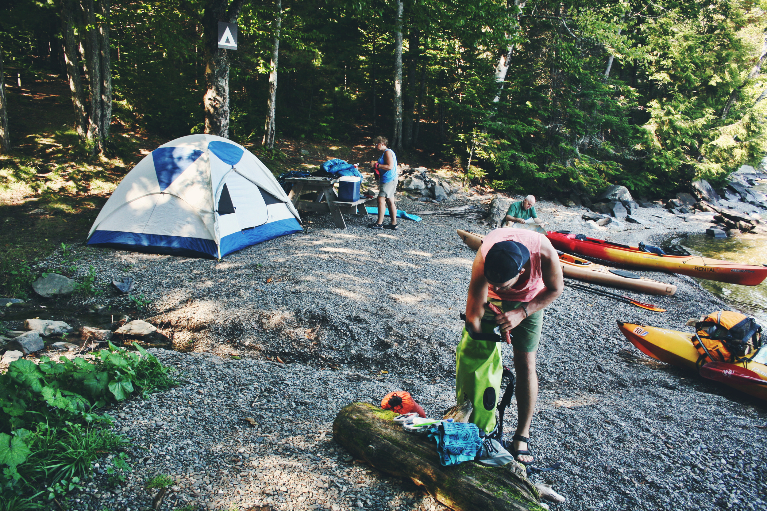 Landing and setting up camp on Porcupine Point, Sugar Island.