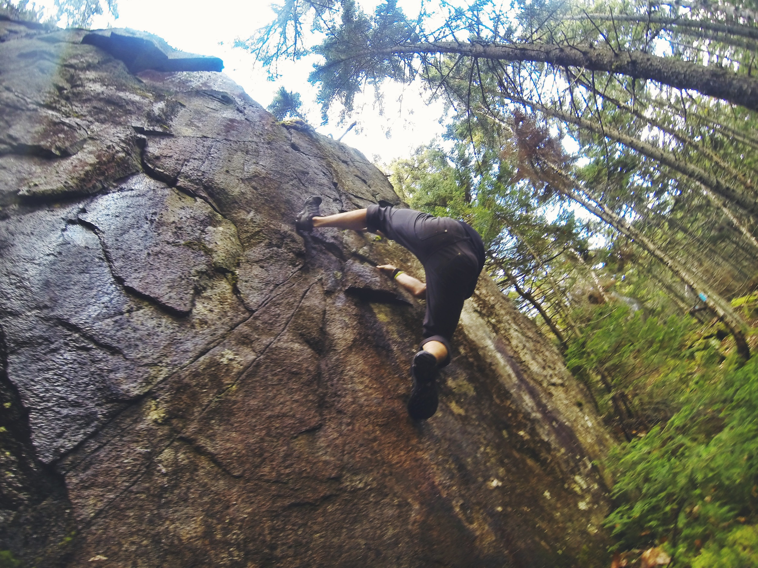 The trail is littered with massive boulders and rock faces perfect for bouldering, as a climber, Birch couldn't help but give them a shot even though most were too wet to climb.