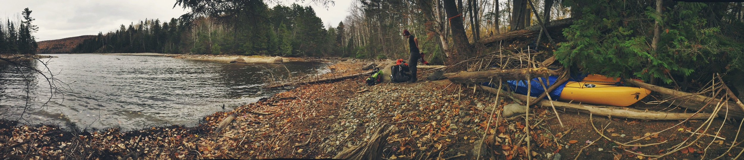 Birch changes from his hiking clothes to more appropriate cold-weather paddle gear.