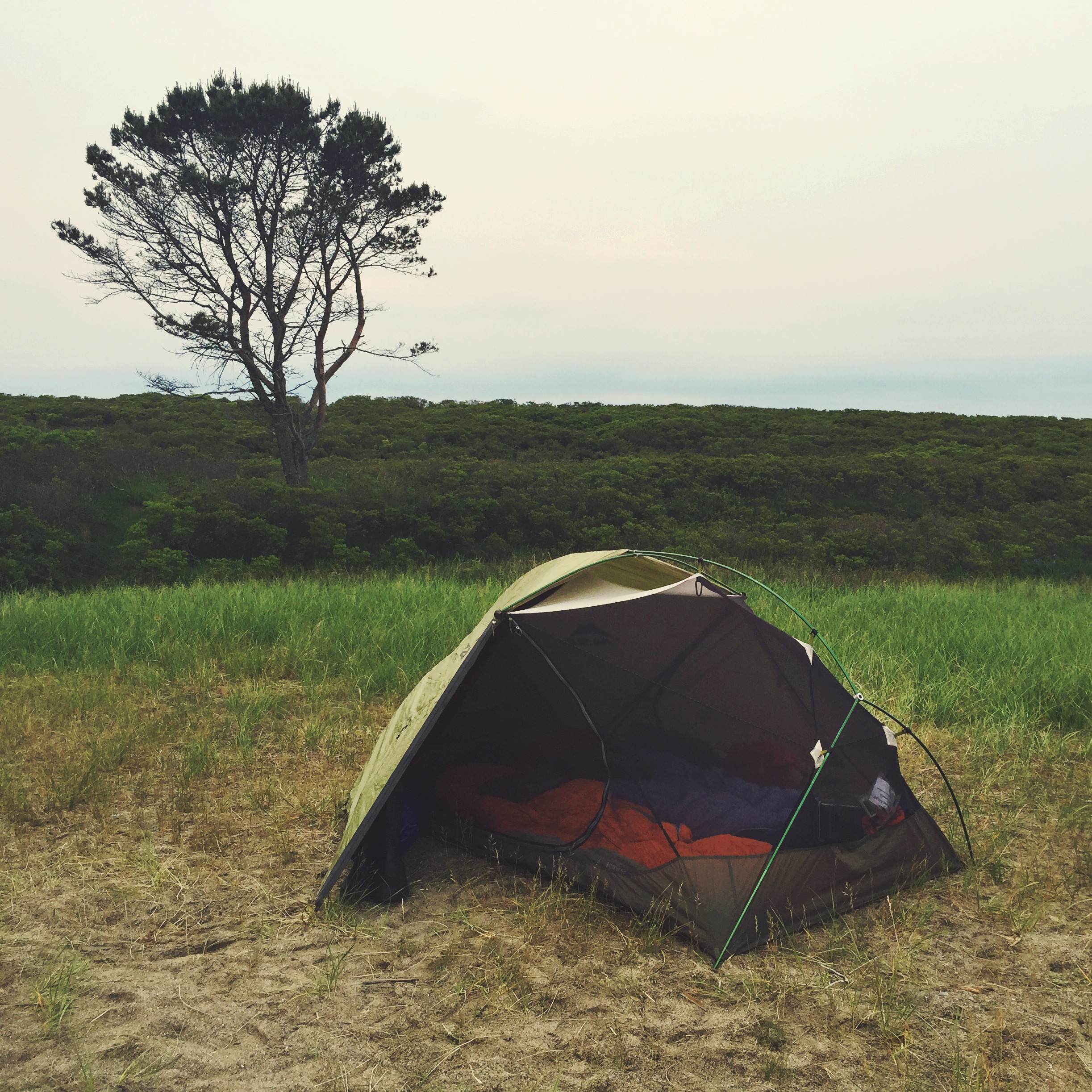 The night was dry and warm which means we got to 'half-moon' our tent and look at the ocean and moon all night.