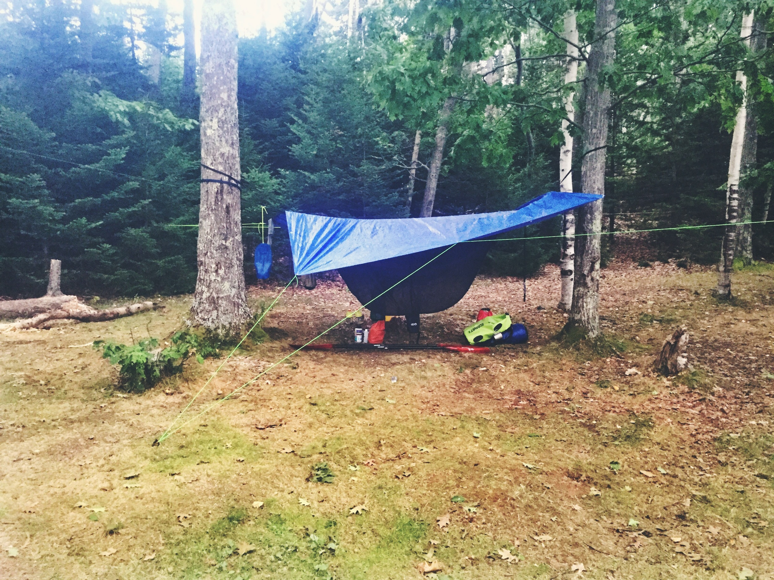 Hammock camping on Jewell Island.