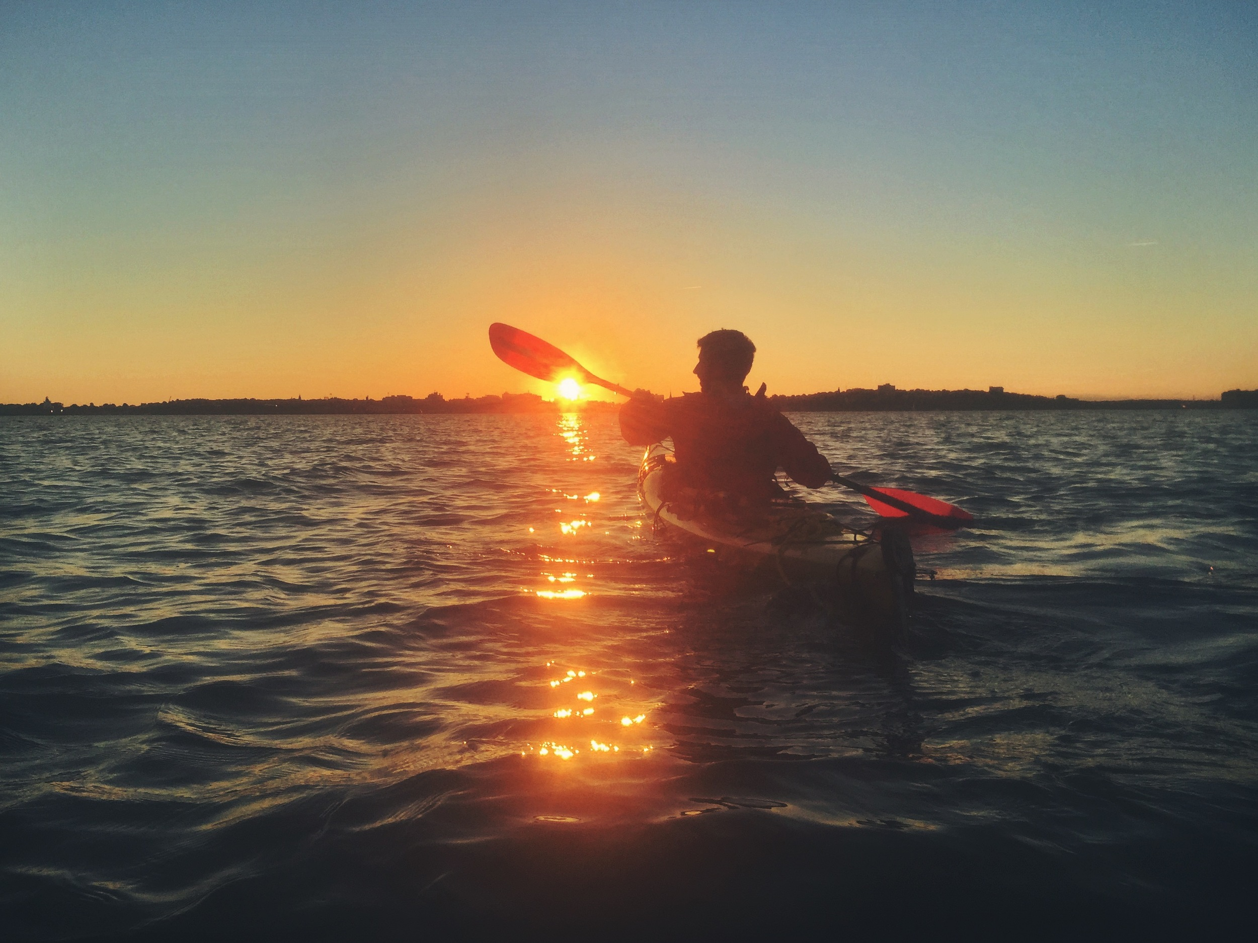 Paddling into the sunset, headed towards Willard Beach.