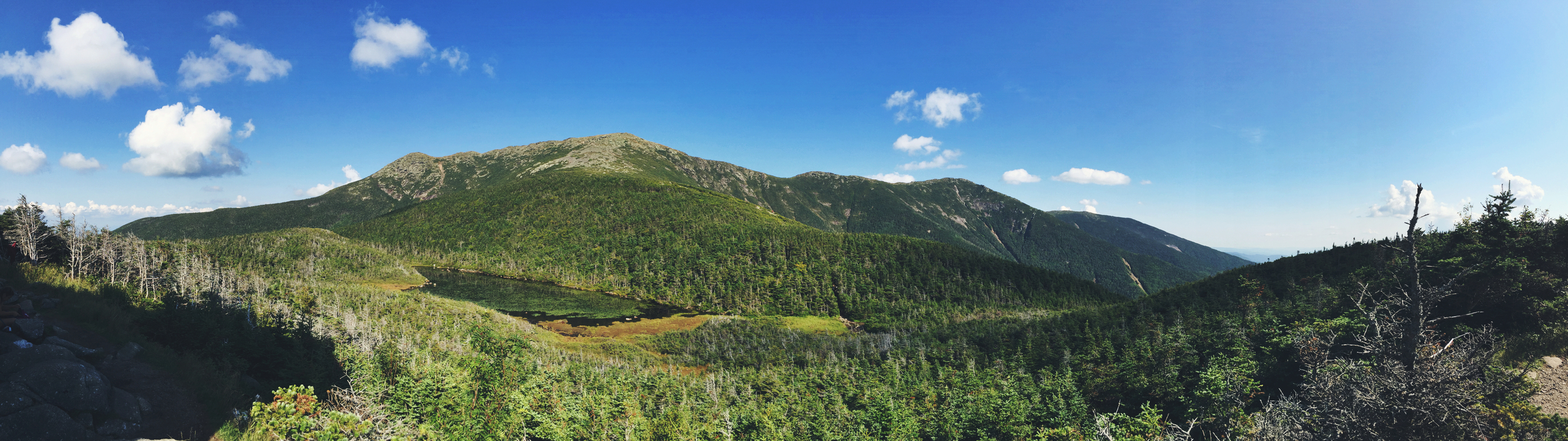 View of Franconia Ridge from Greenleaf Hut ( view winter version here )