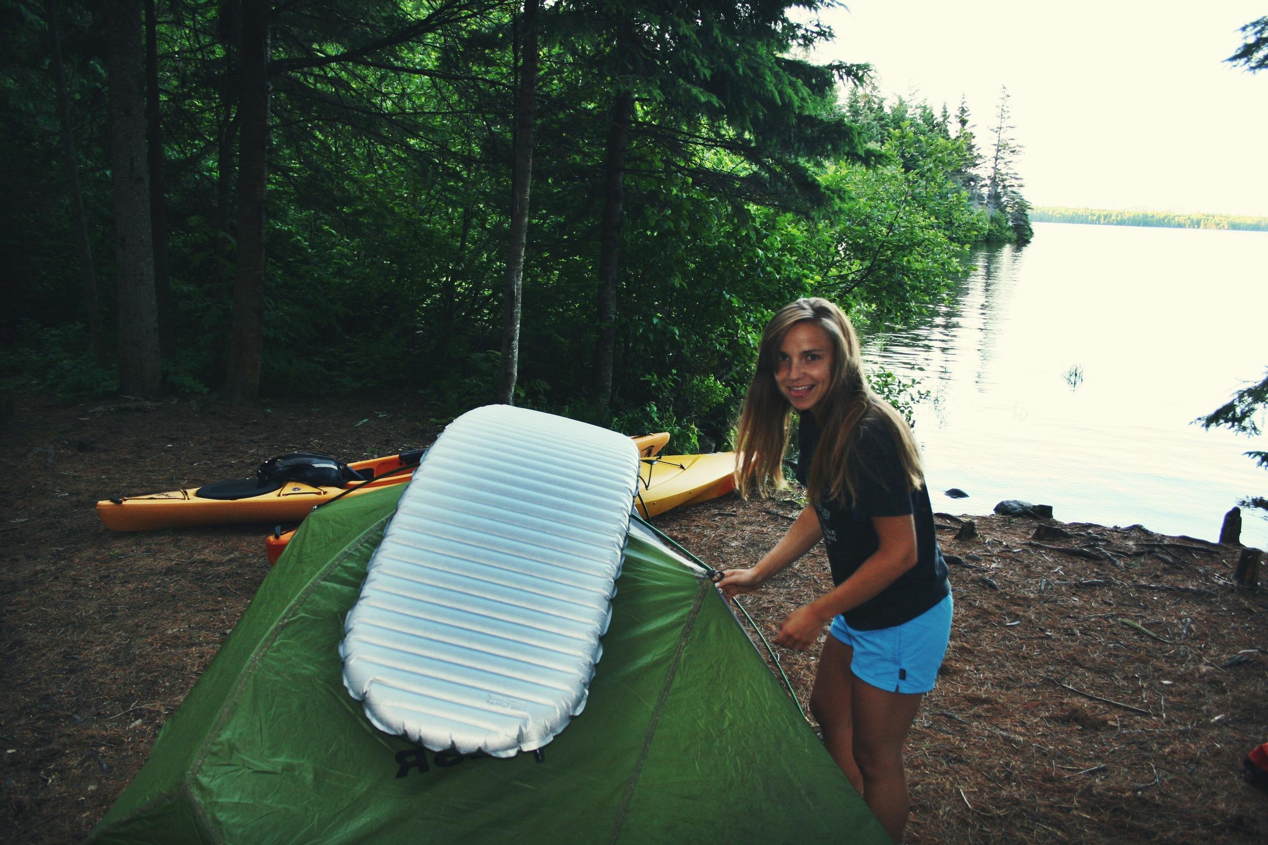 Moose getting camp set up.