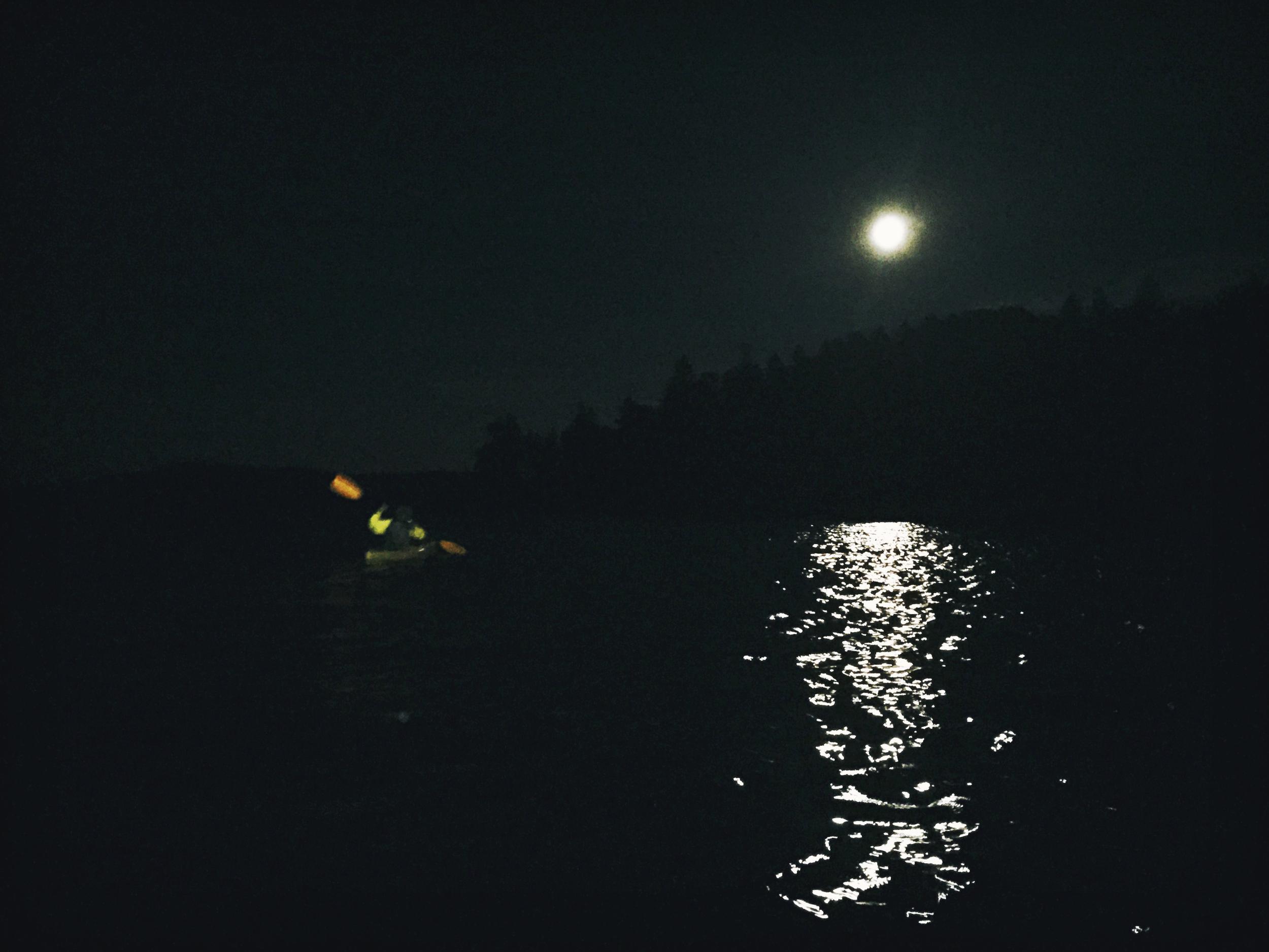 Moonlight paddle on Flagstaff.