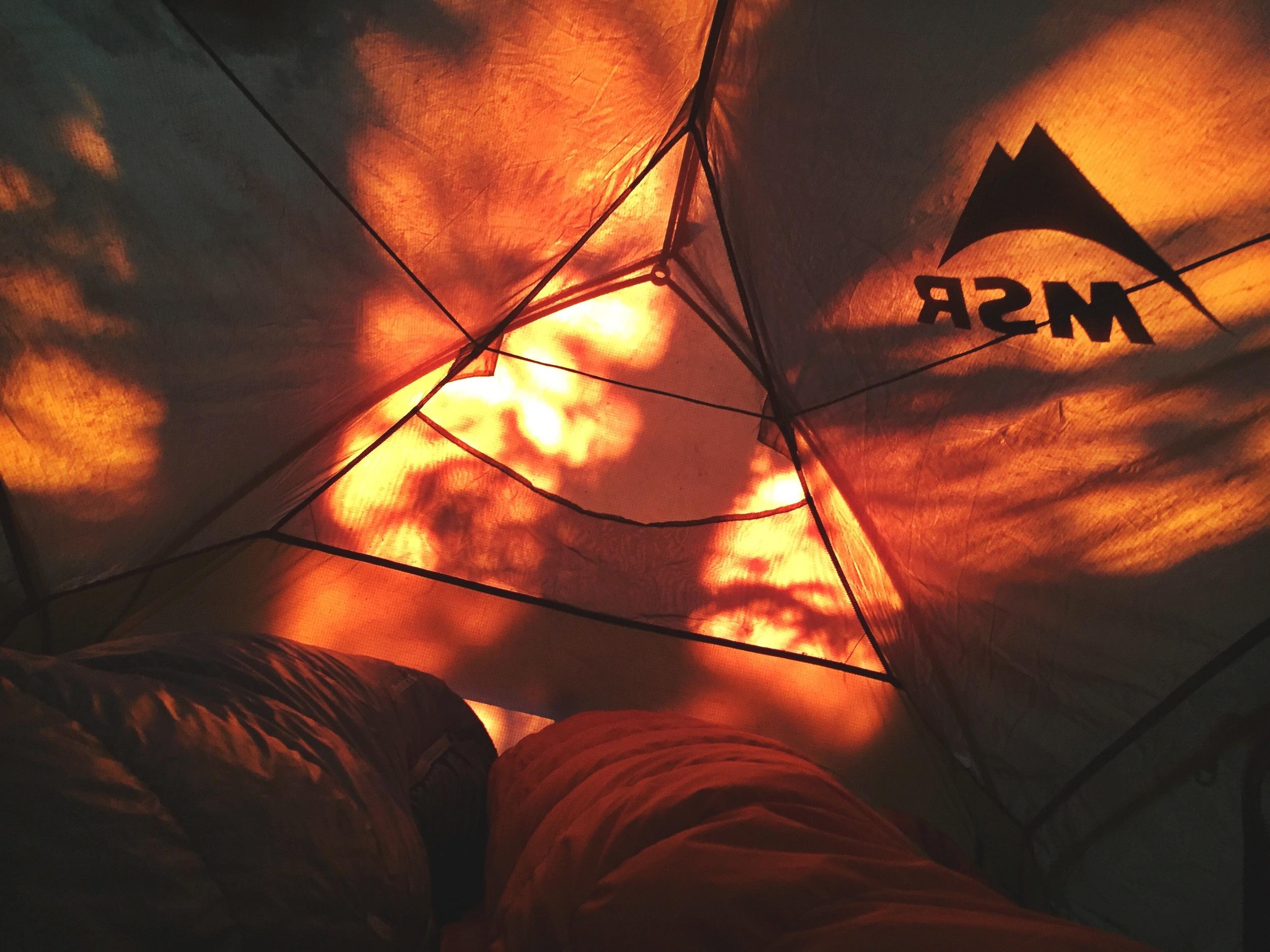 Sunrise tent light show.