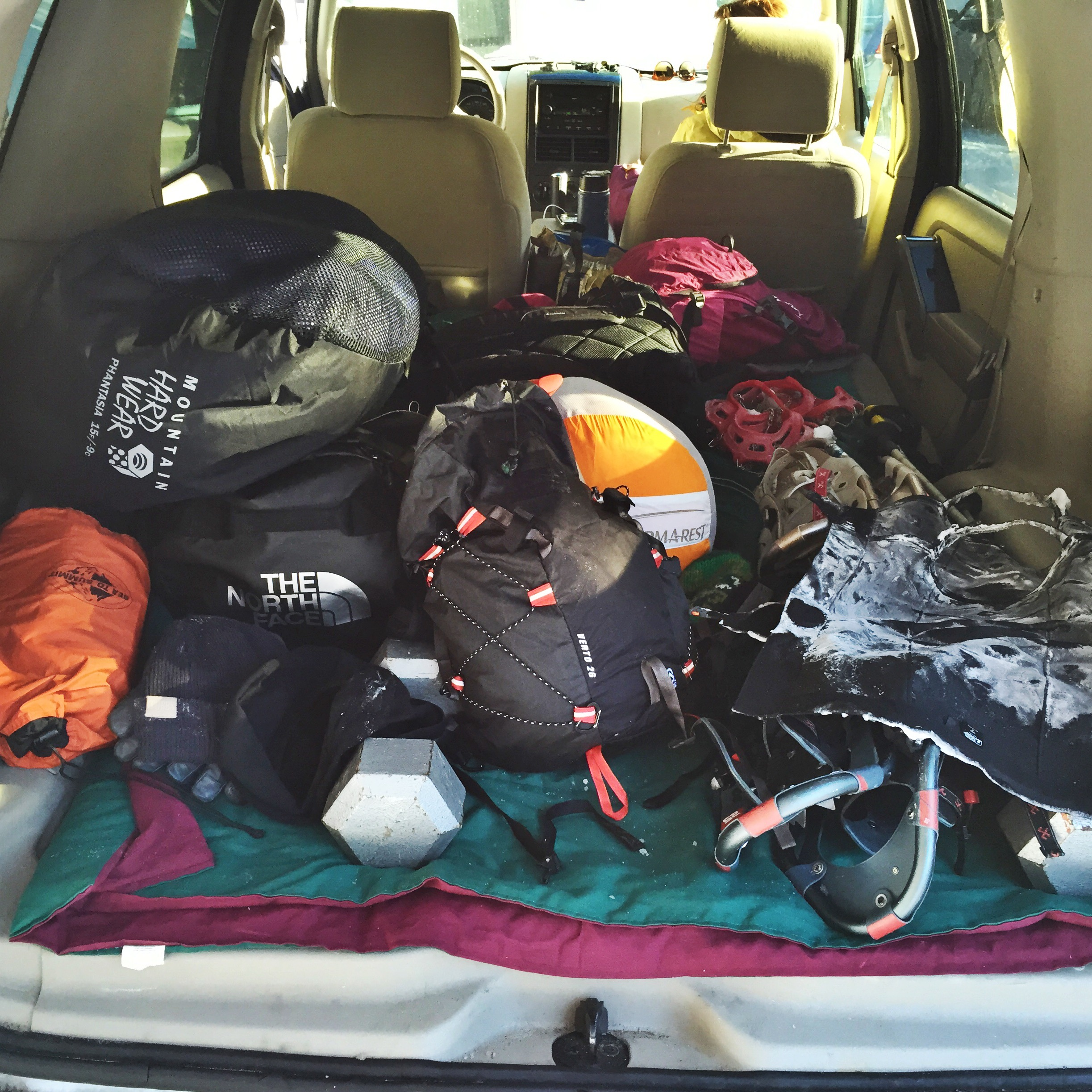 Loaded up with our winter hiking gear.