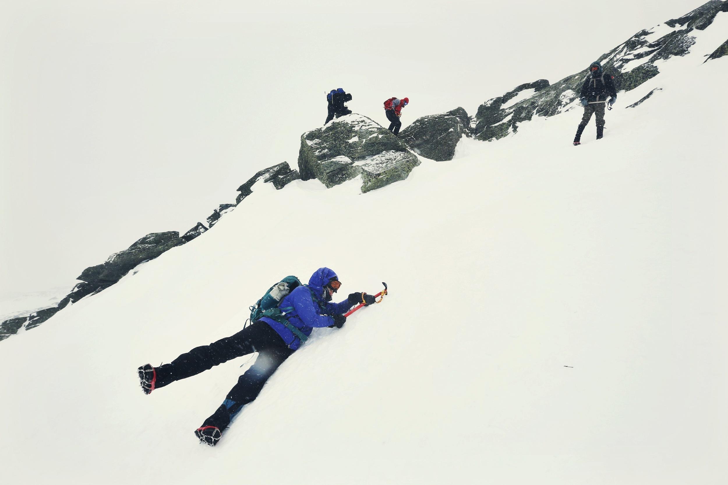 Self-arresting down the mountainside ©Robert Bukaty