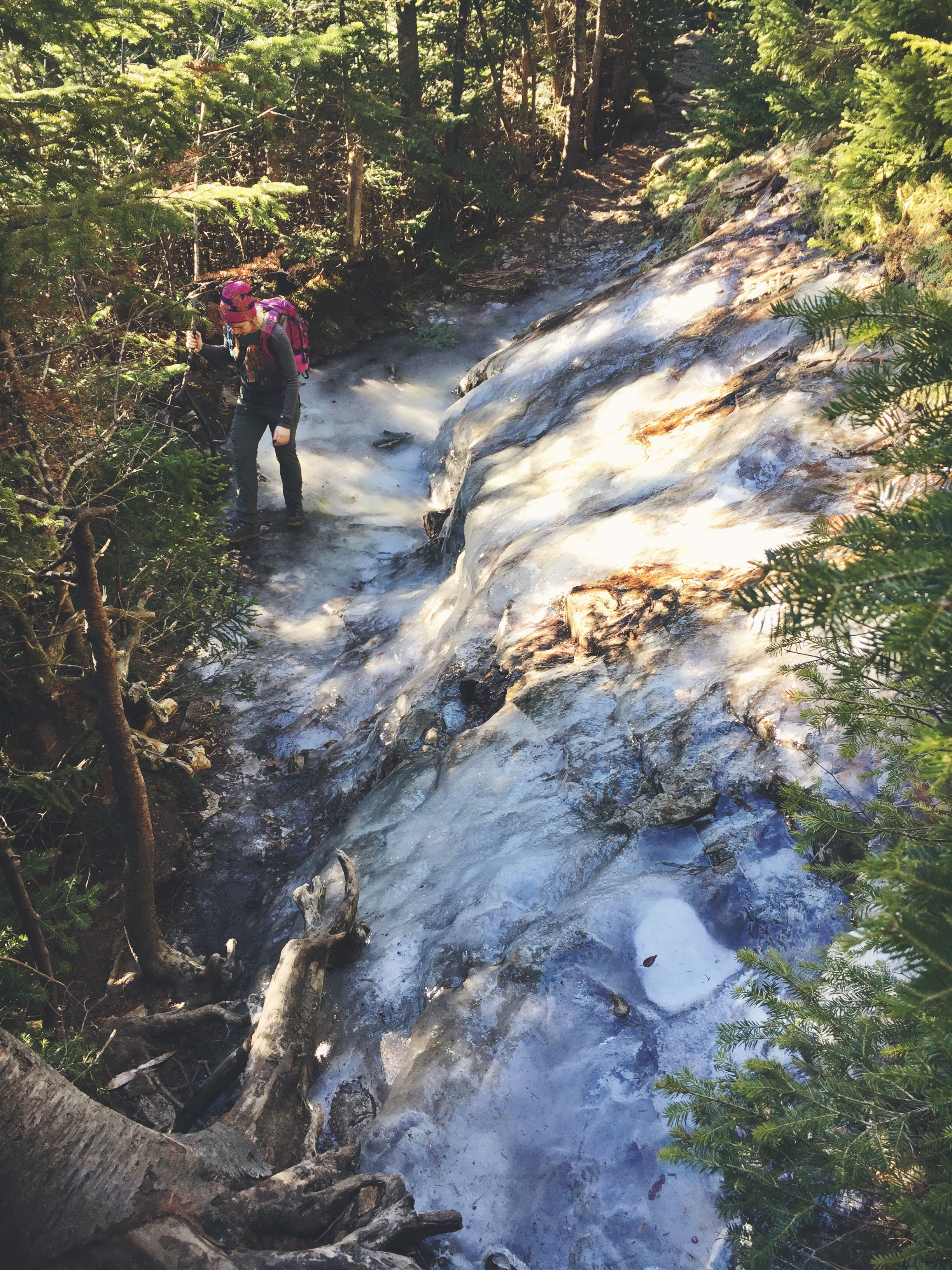Even with the unseasonably warm November temps, the trail was still littered with gnarly and unavoidable ice slides like the one pictured here.
