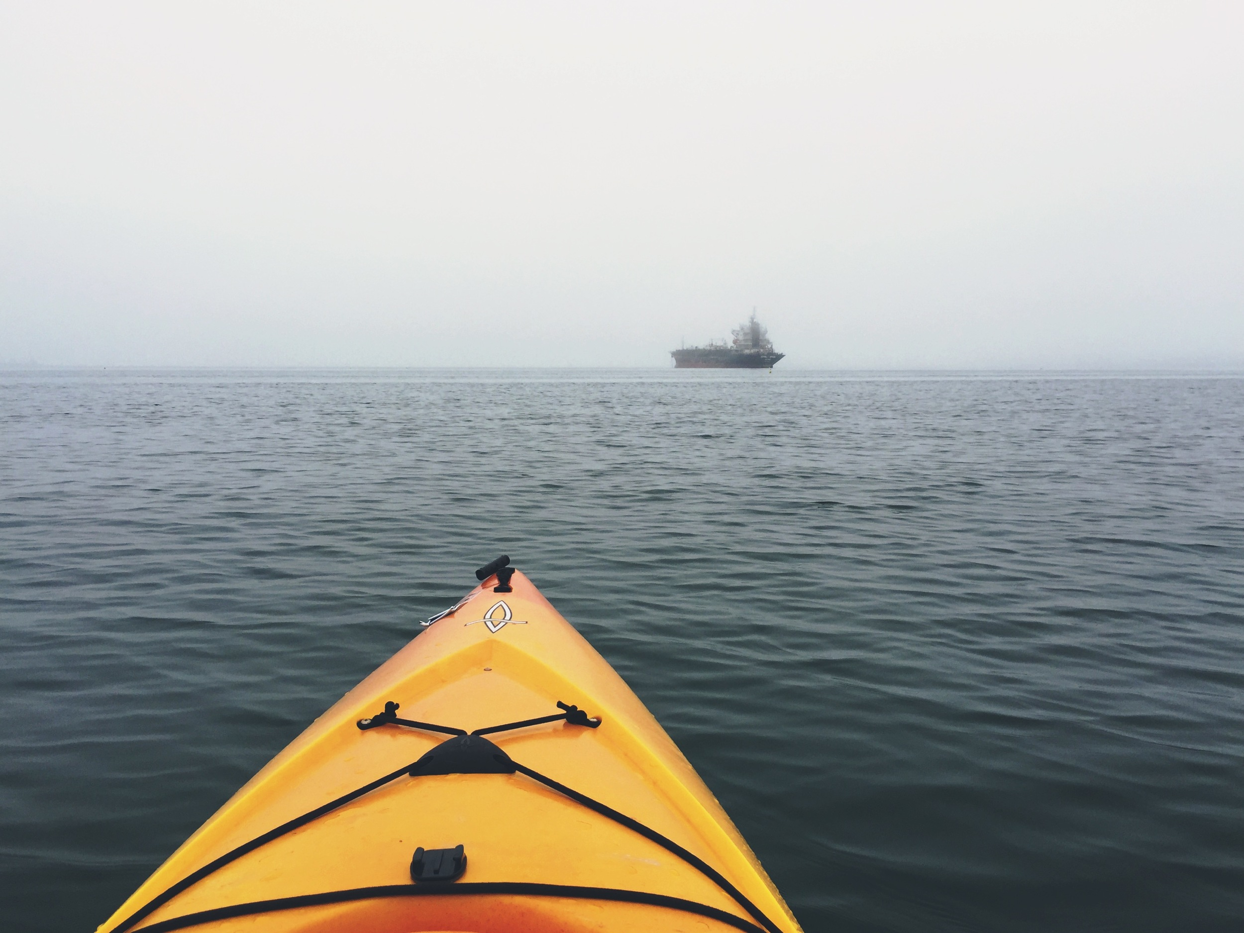 Tanker in the distant fog.
