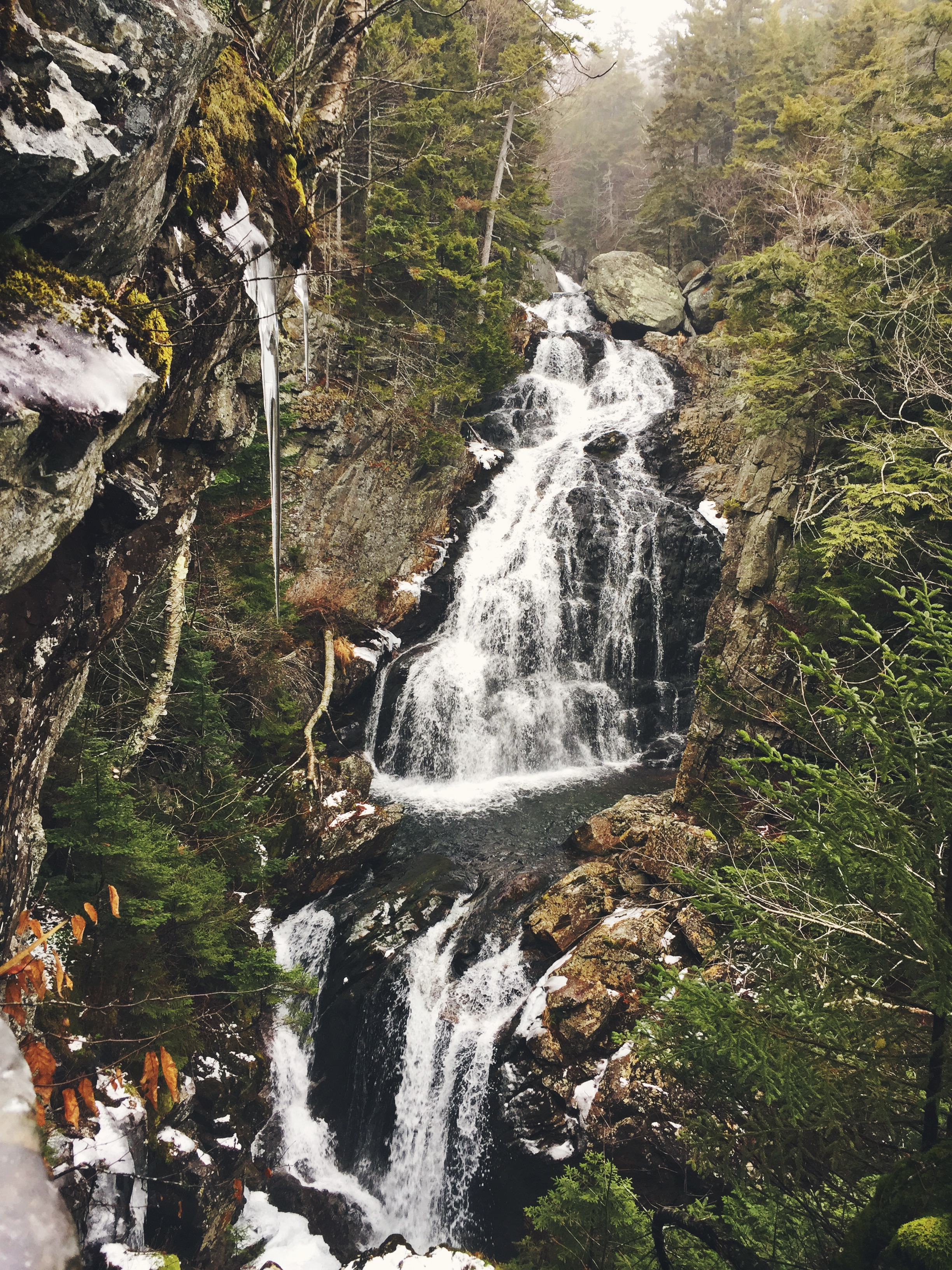 Crystal Cascade, as viewed later in the day, resides a mere .4 miles down the trail from Pinkham Notch.