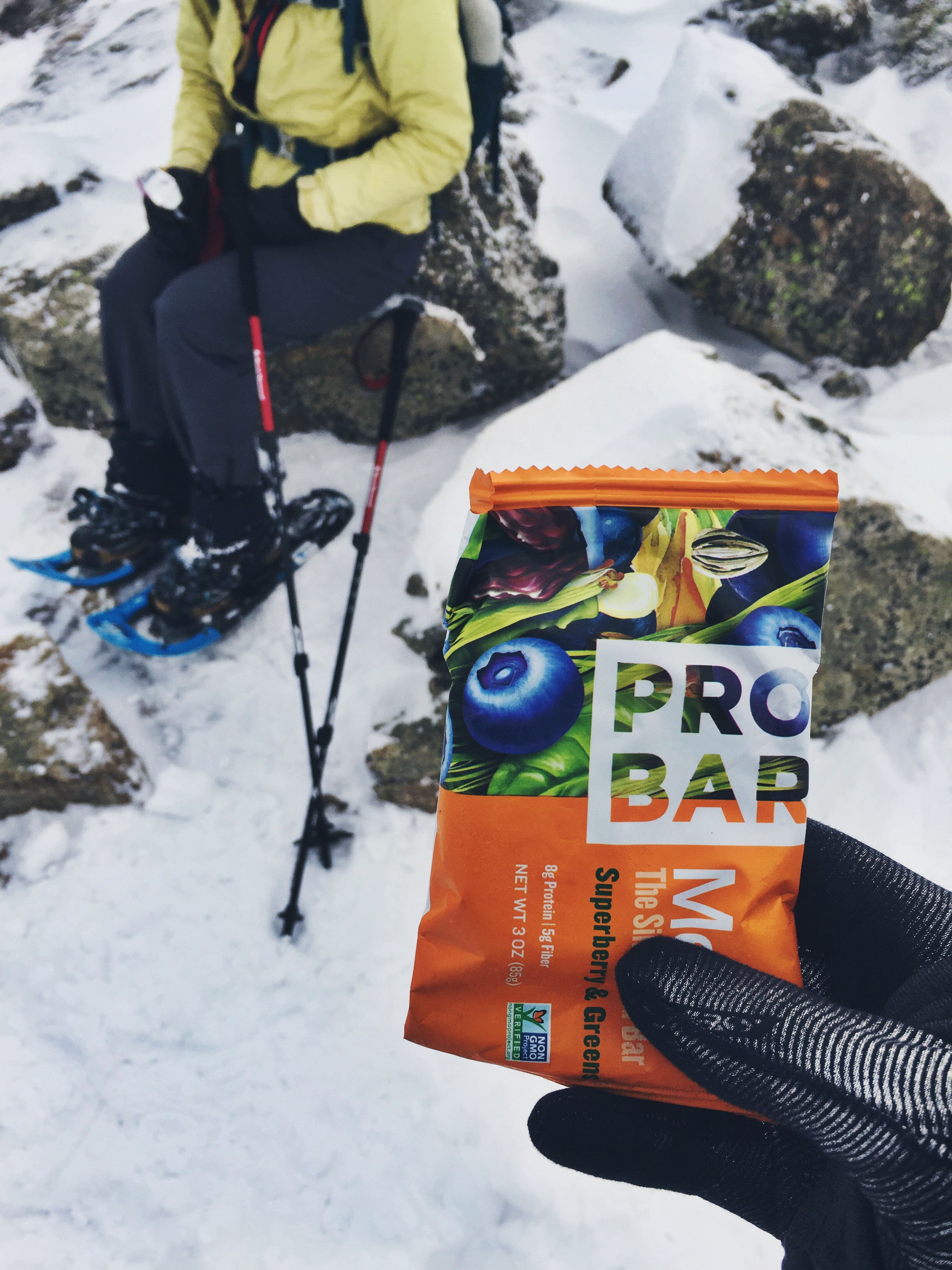 When winter hiking, it is important to choose snacks that are still consumable when frozen. This ProBar was a first time try and it was still entirely malleable.