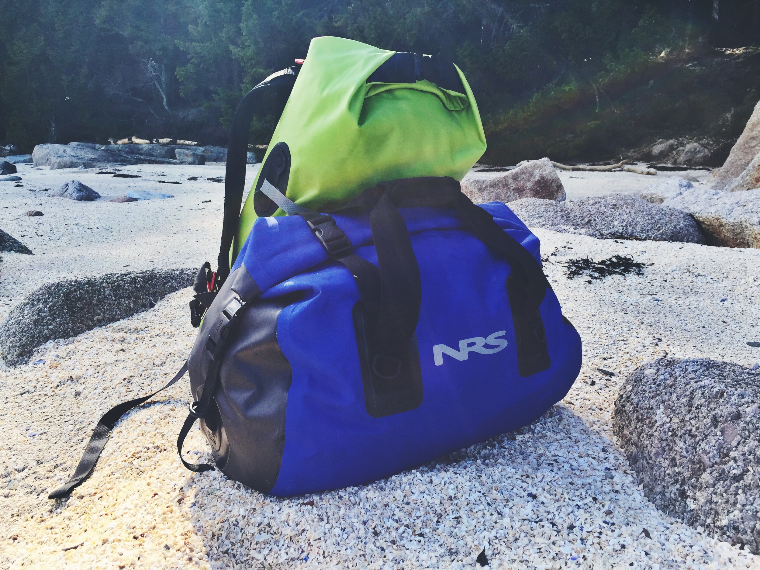 We love our NRS expedition dry duffle -our entire overnight setup in one convenient bag.