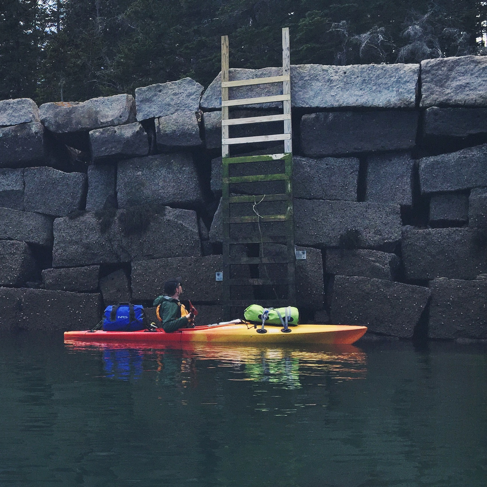 The ladders from the cove of Green Island allow boaters easy access to the islands' interior.