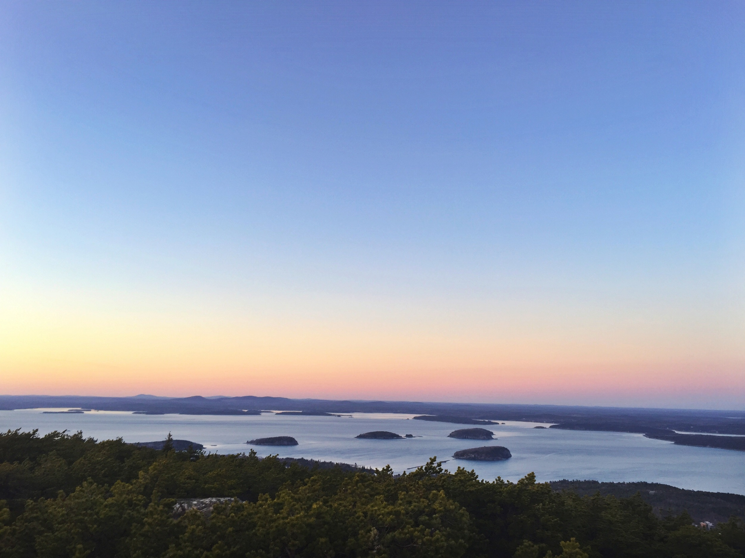 A view of Frenchmans Bay and the Porcupine Islands from Dorr Mountain