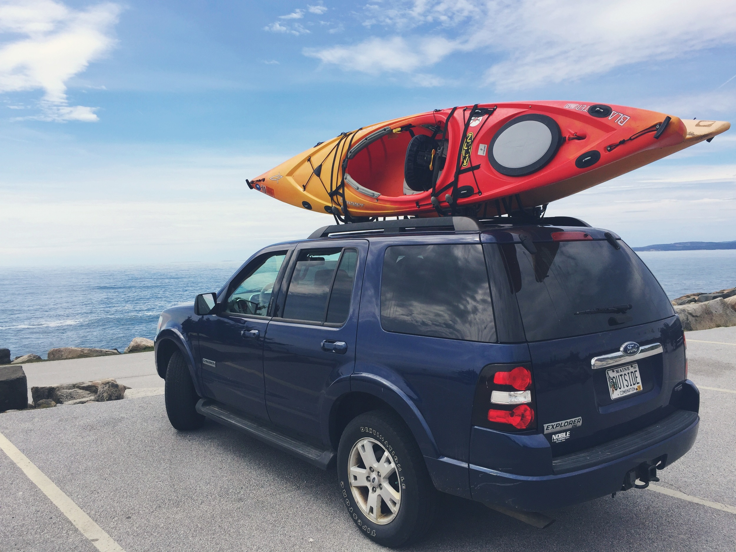 Parked at the tip of Schoodic to explore the rocky outcroppings