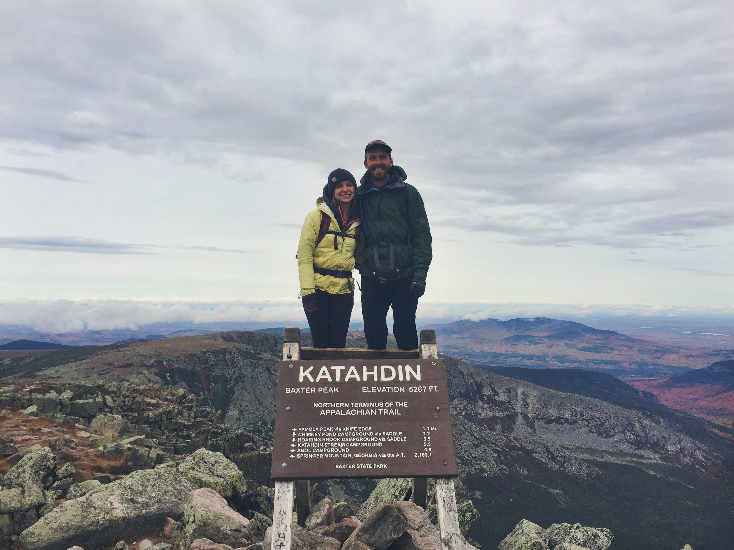 Moose and Teton experiencing their first clear day on Katahdin!