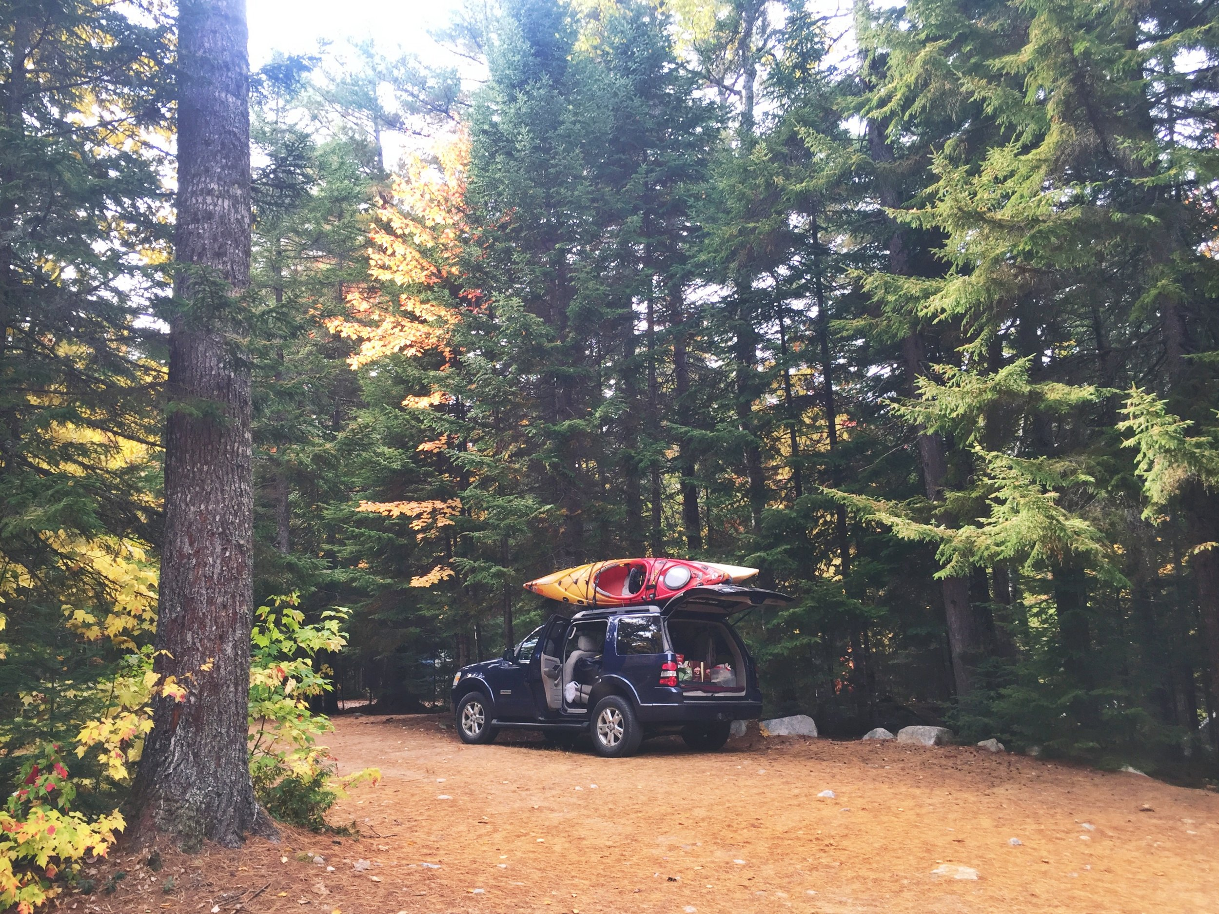 The trusty adventure vehicle at the campground