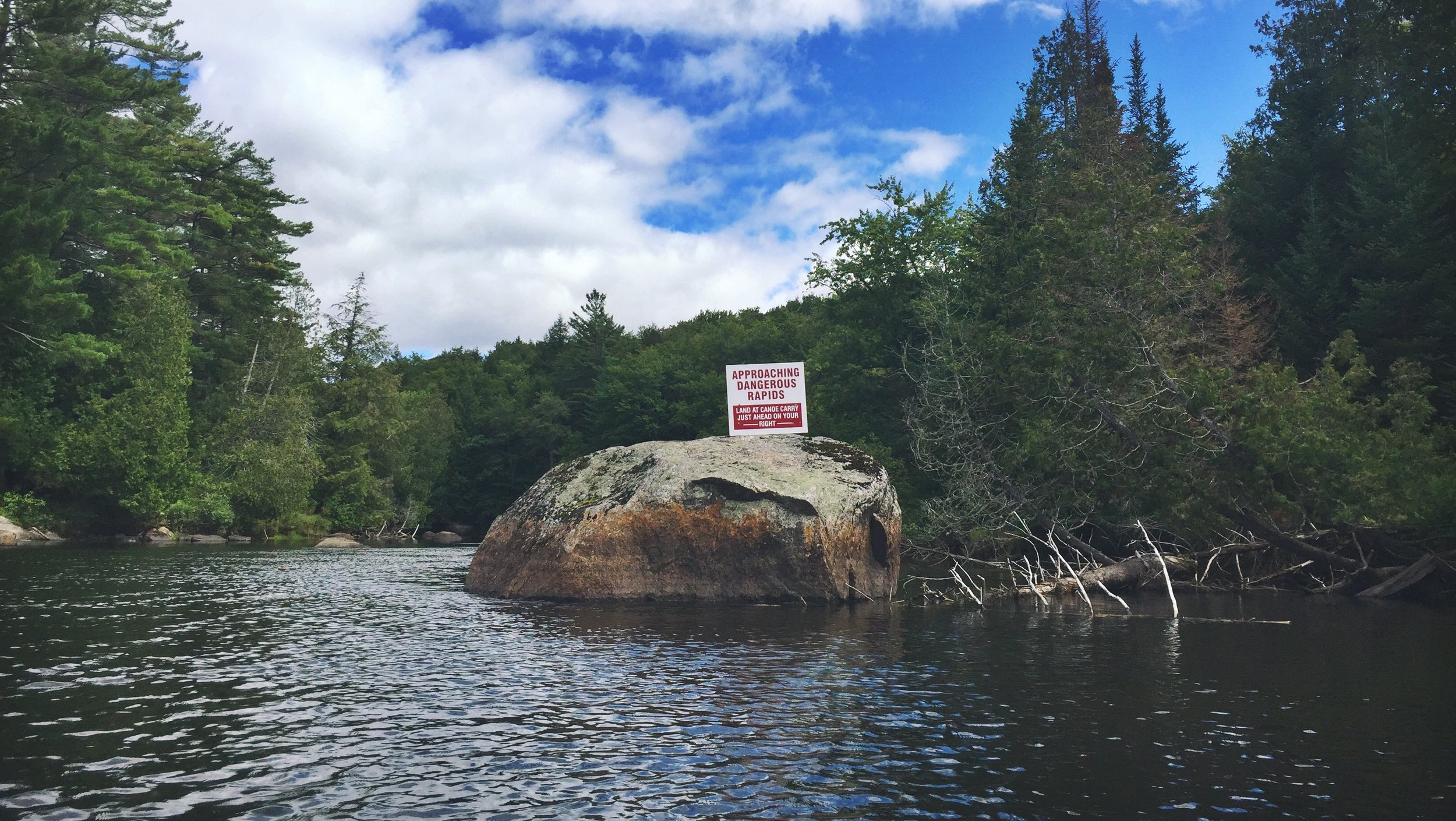 Warning sign for the upcoming waterfalls