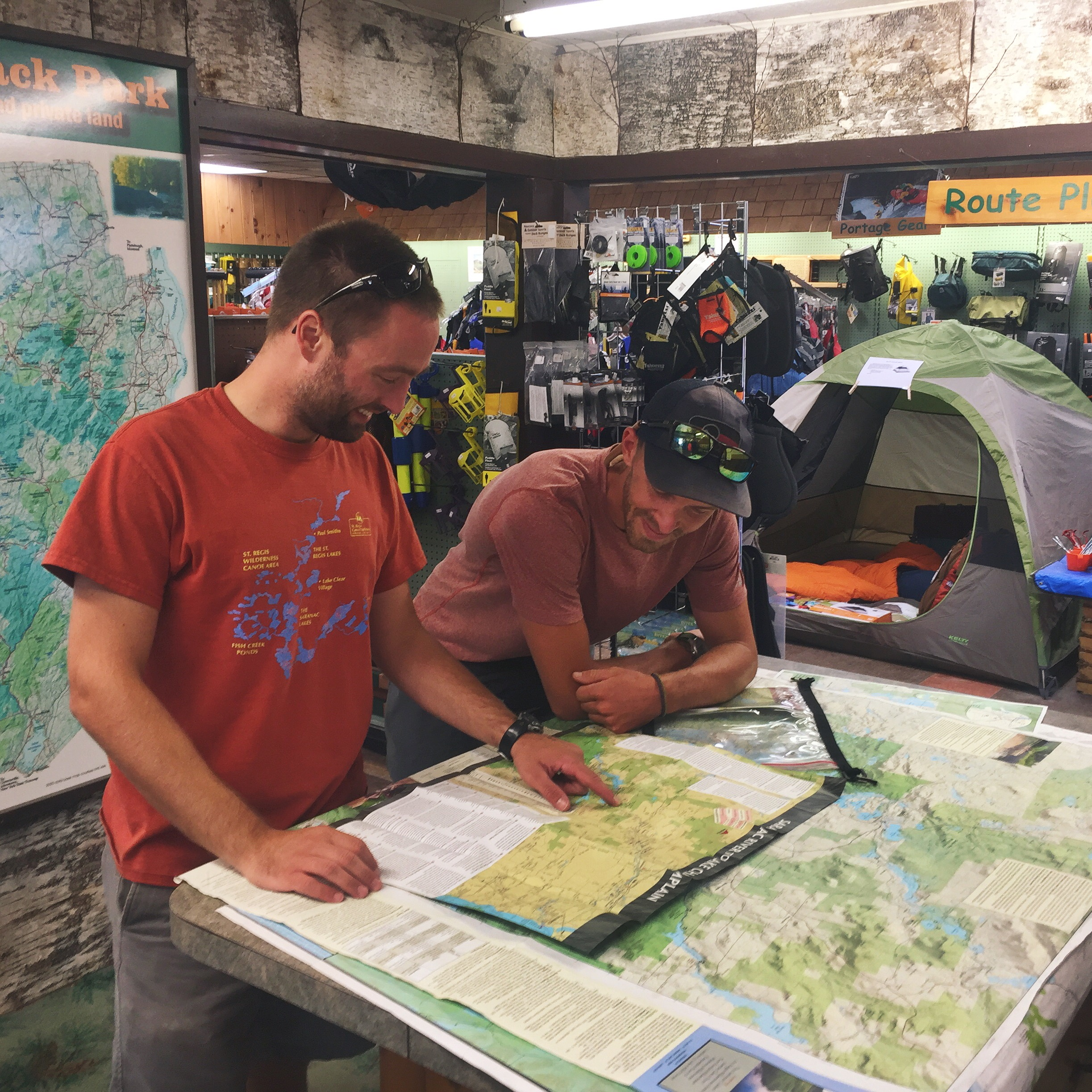 Tyler, the trail maintainer for section three, helps me lay out my travel plans for the next couple of days.