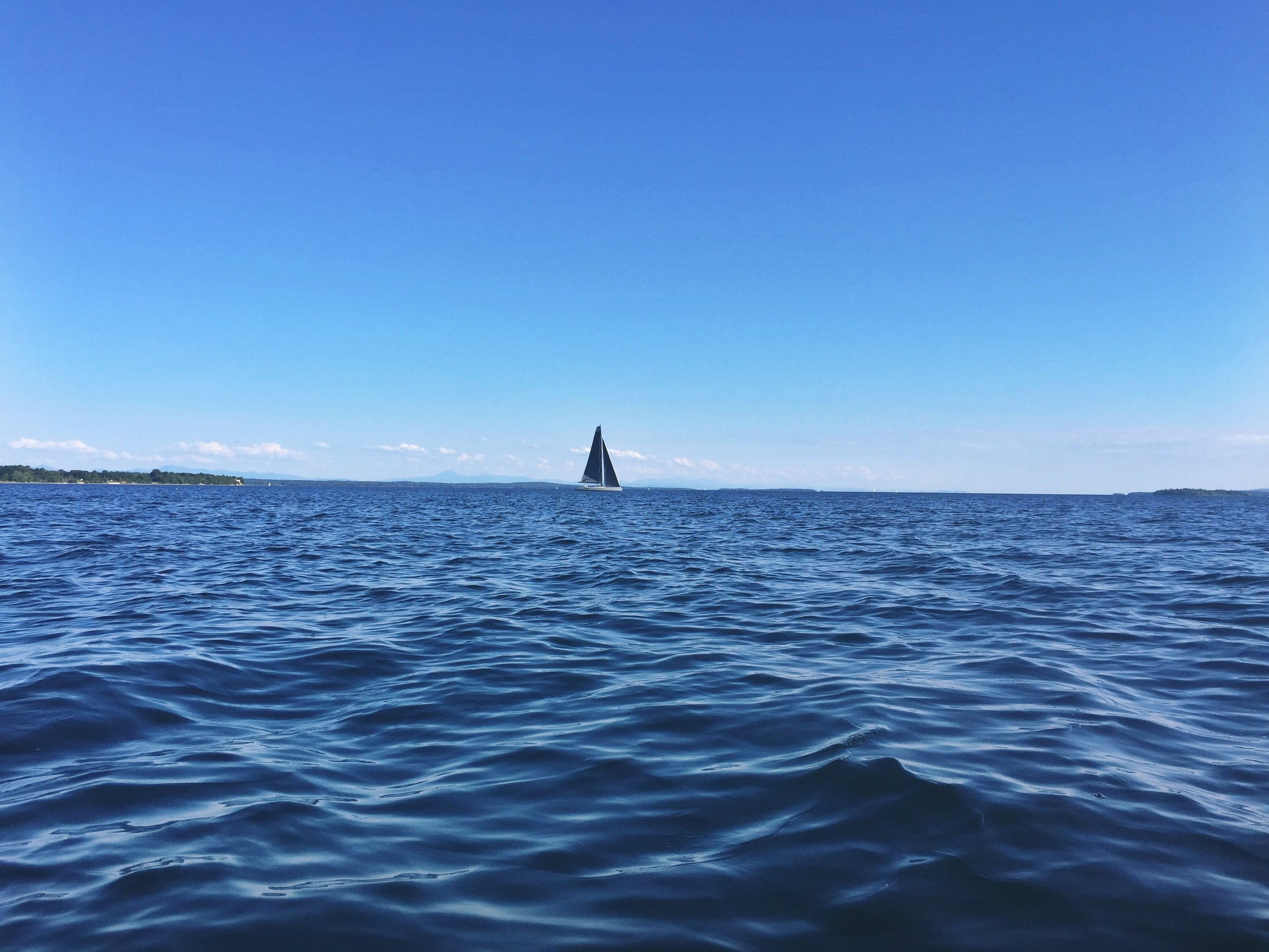 The first real open water travel on the NFCT, the massive Lake Champlain