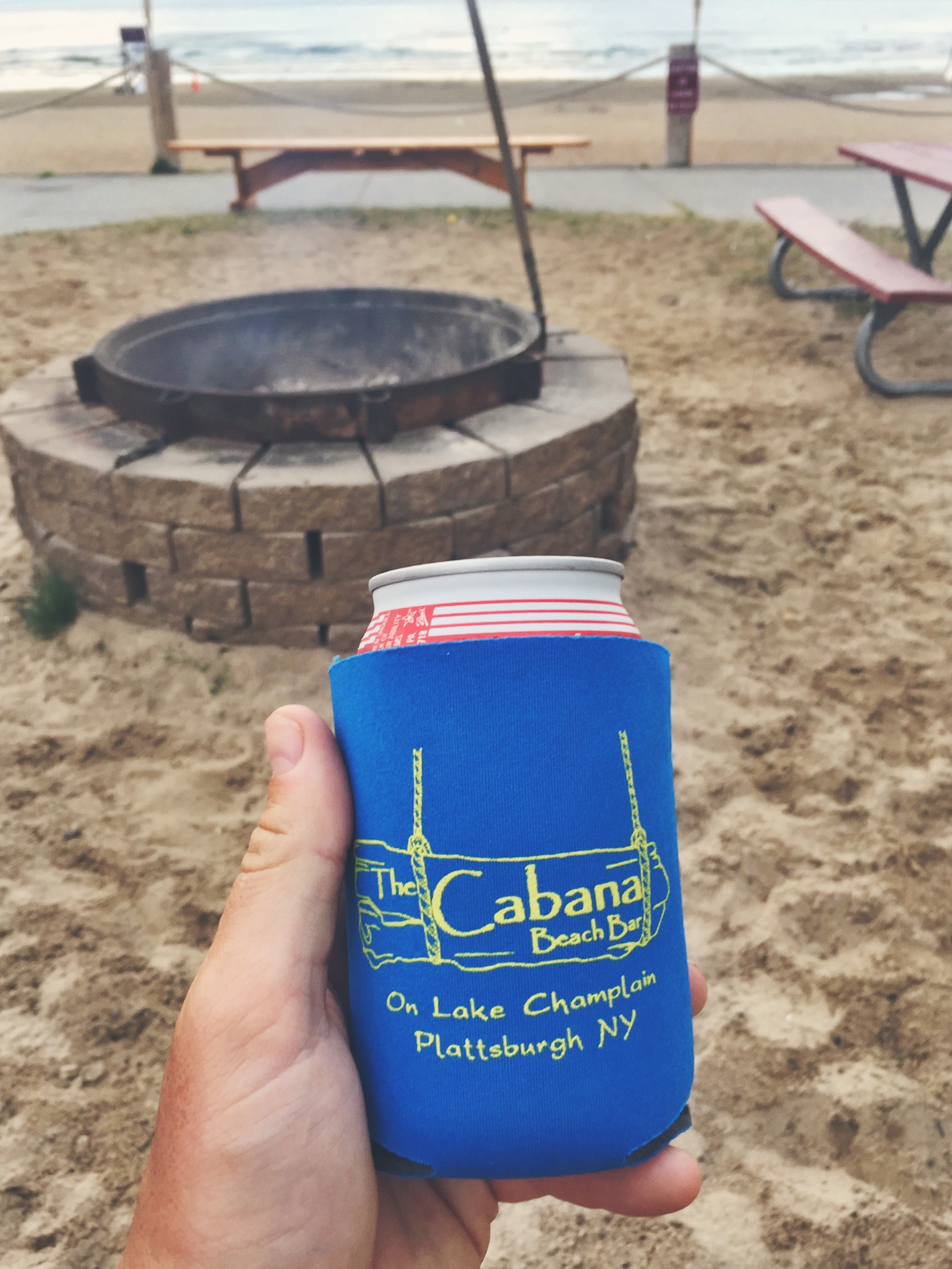 Enjoying a beer at the state beach Cabana
