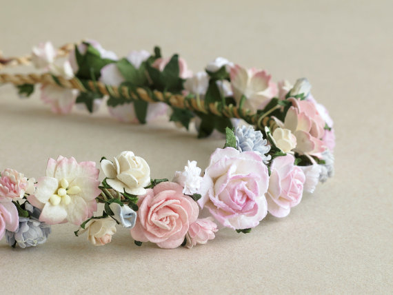 SQUISHnCHIPS  Pink Flower Crown - Paper flower headpiece