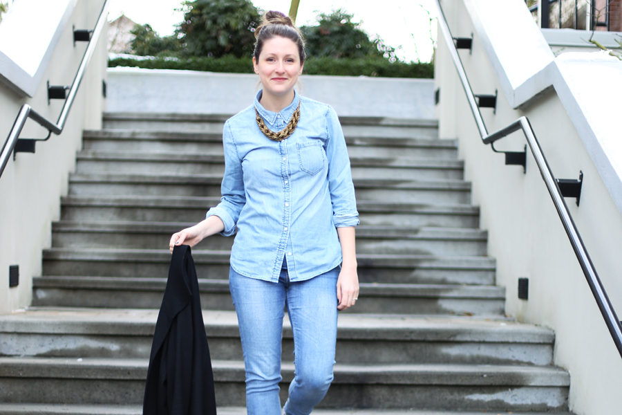 How to wear the all denim trend.