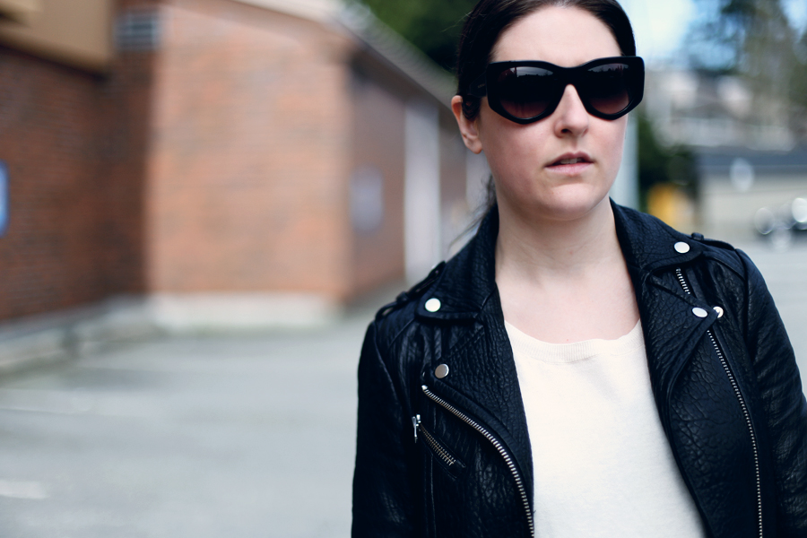 Minimalist Mackage Aritzia leather jacket and Balenciaga sunglasses.