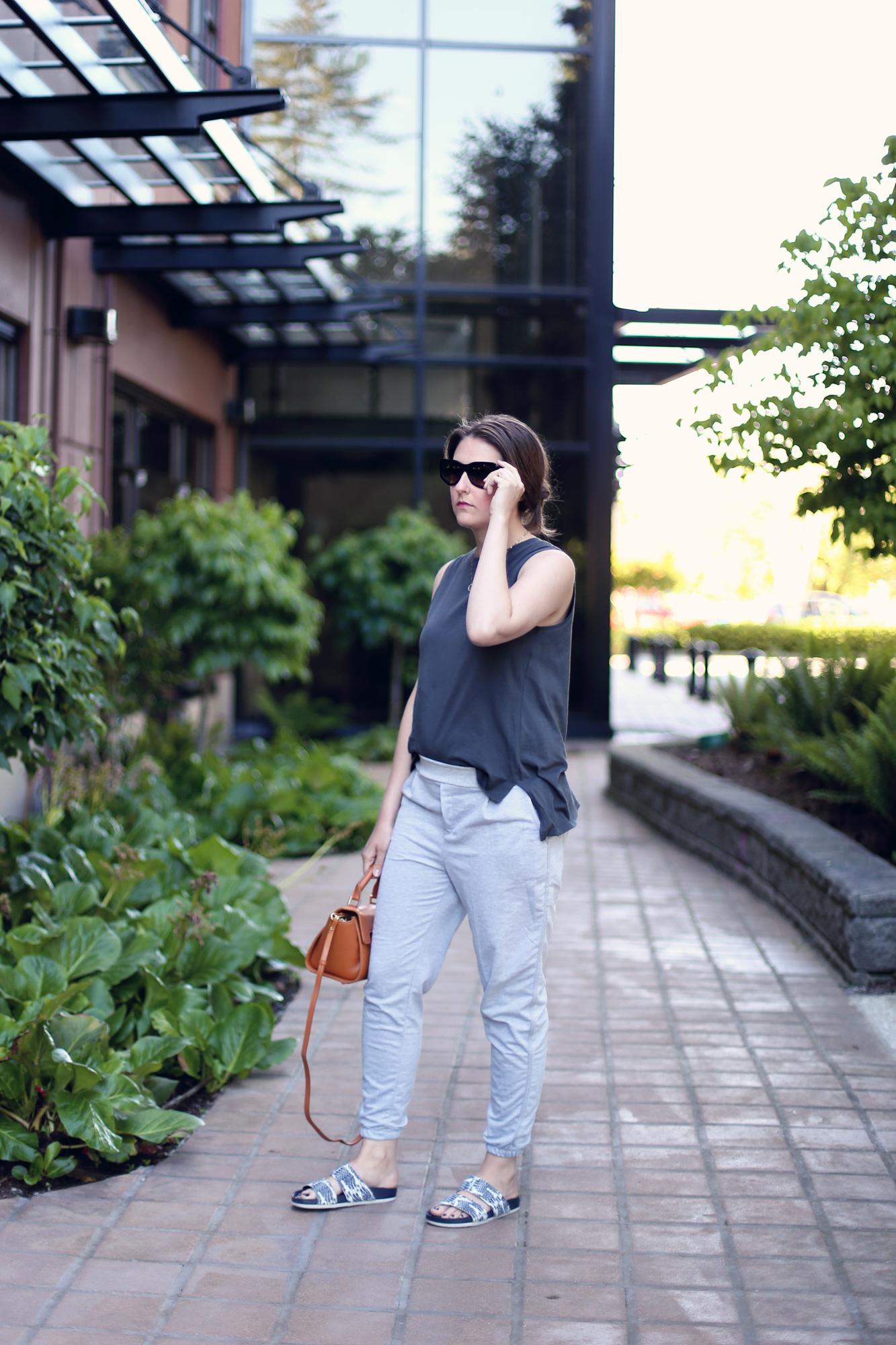 My favourite lazy outfit: grey sweatpants, sandals, a Mezzi bag, and black sunglasses.