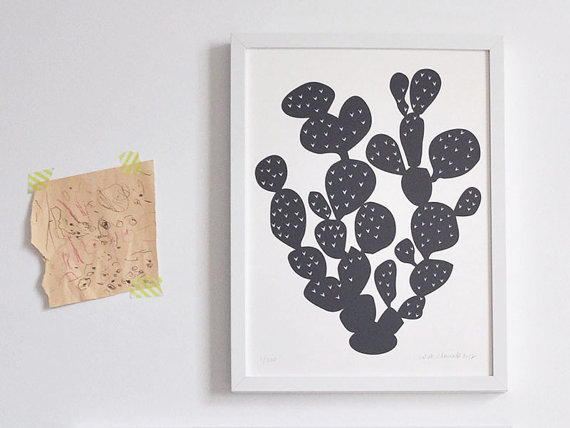 Cute black and white cactus art print.