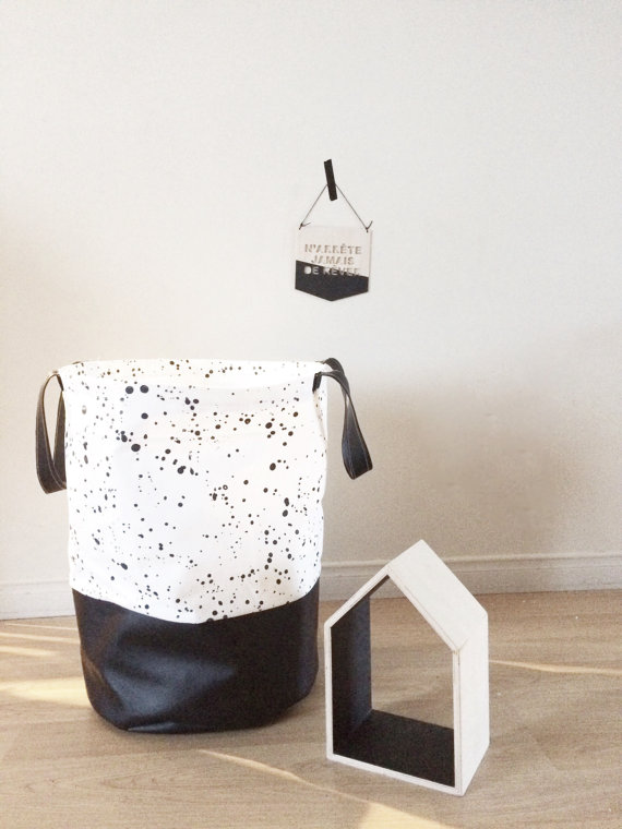 Speckled canvas laundry basket. #decor #minimalist