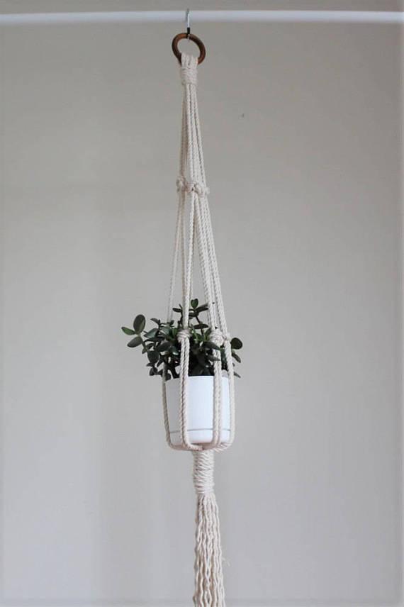 White Macrame planter.