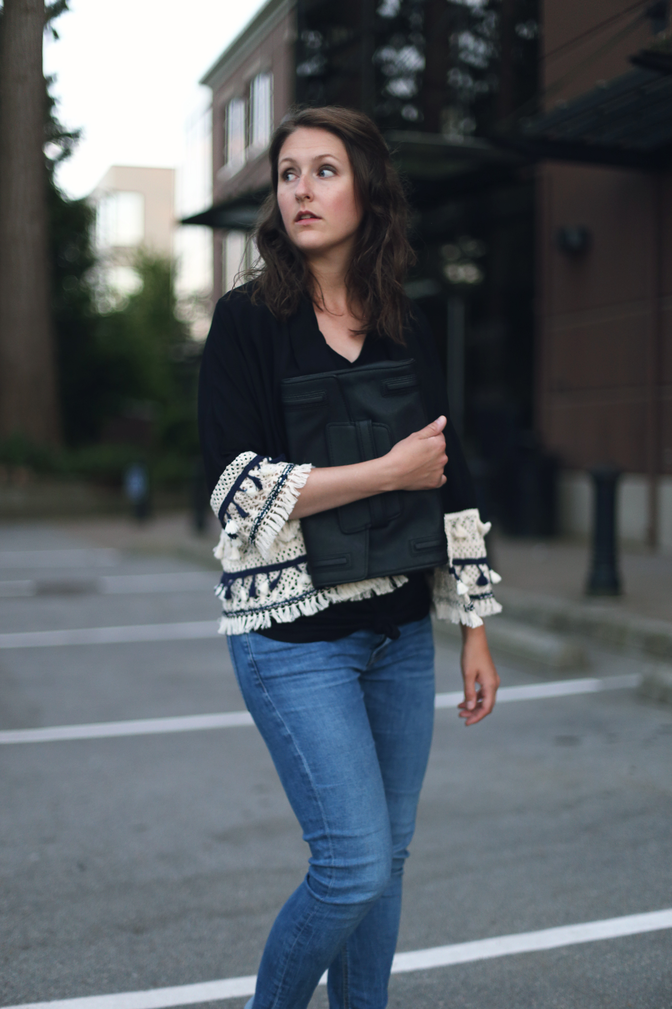How to make a kimono cardigan look flattering. #outfit