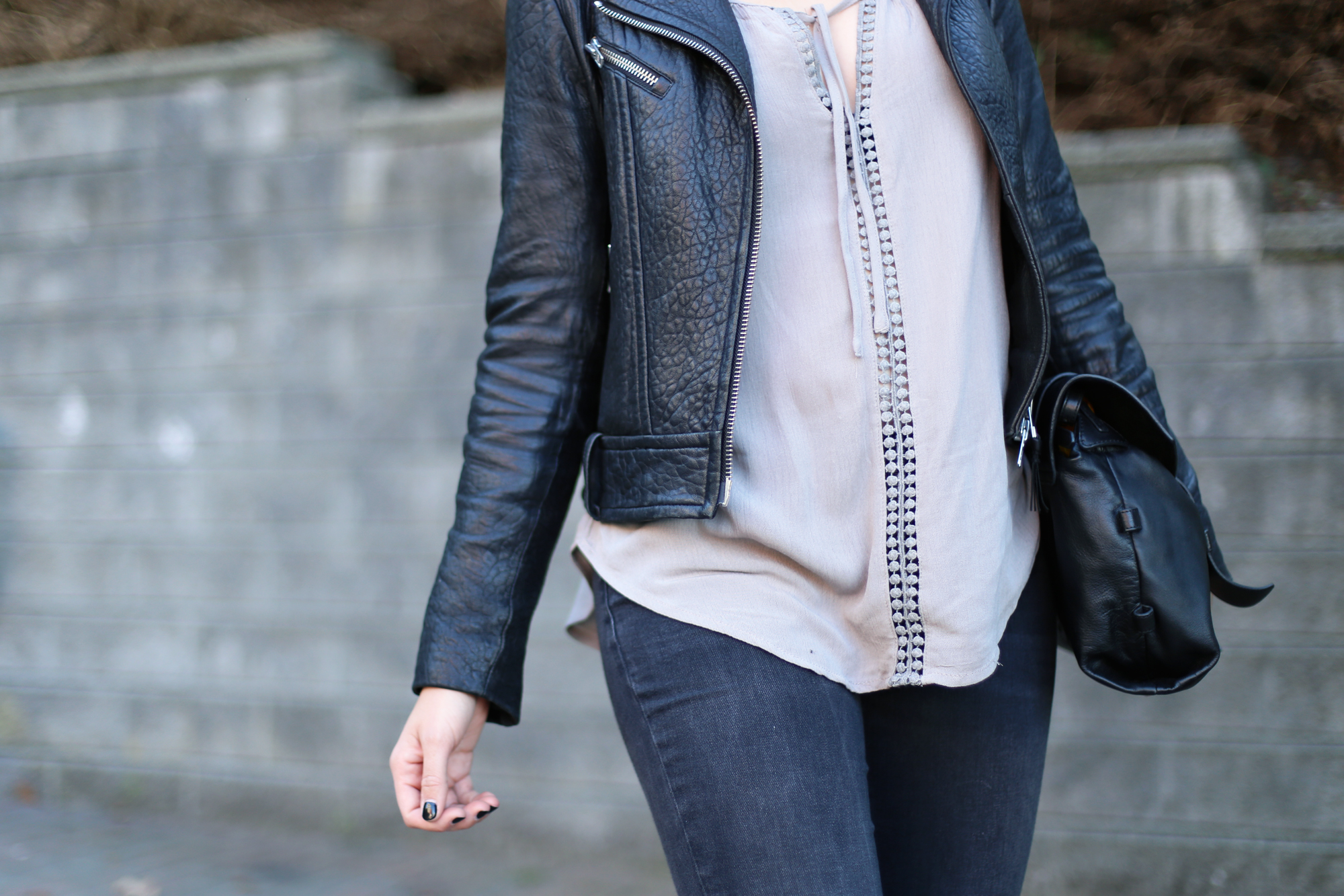 Mackage Rumer pebbled leather jacket. #streetstyle