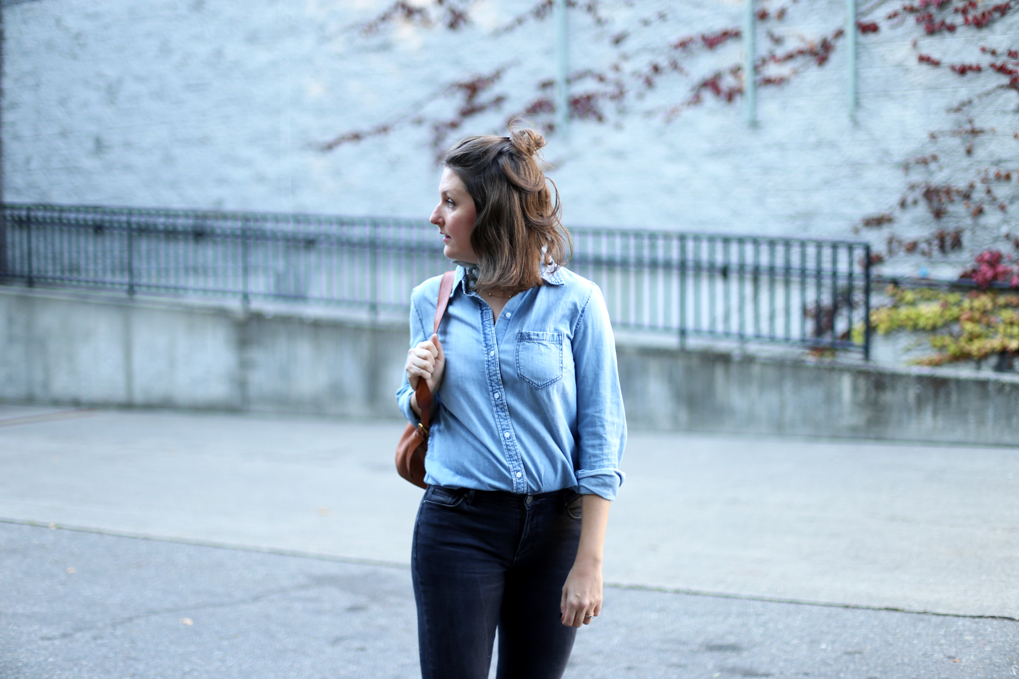 Cute half up hairdo with an all denim streetstyle outfit.
