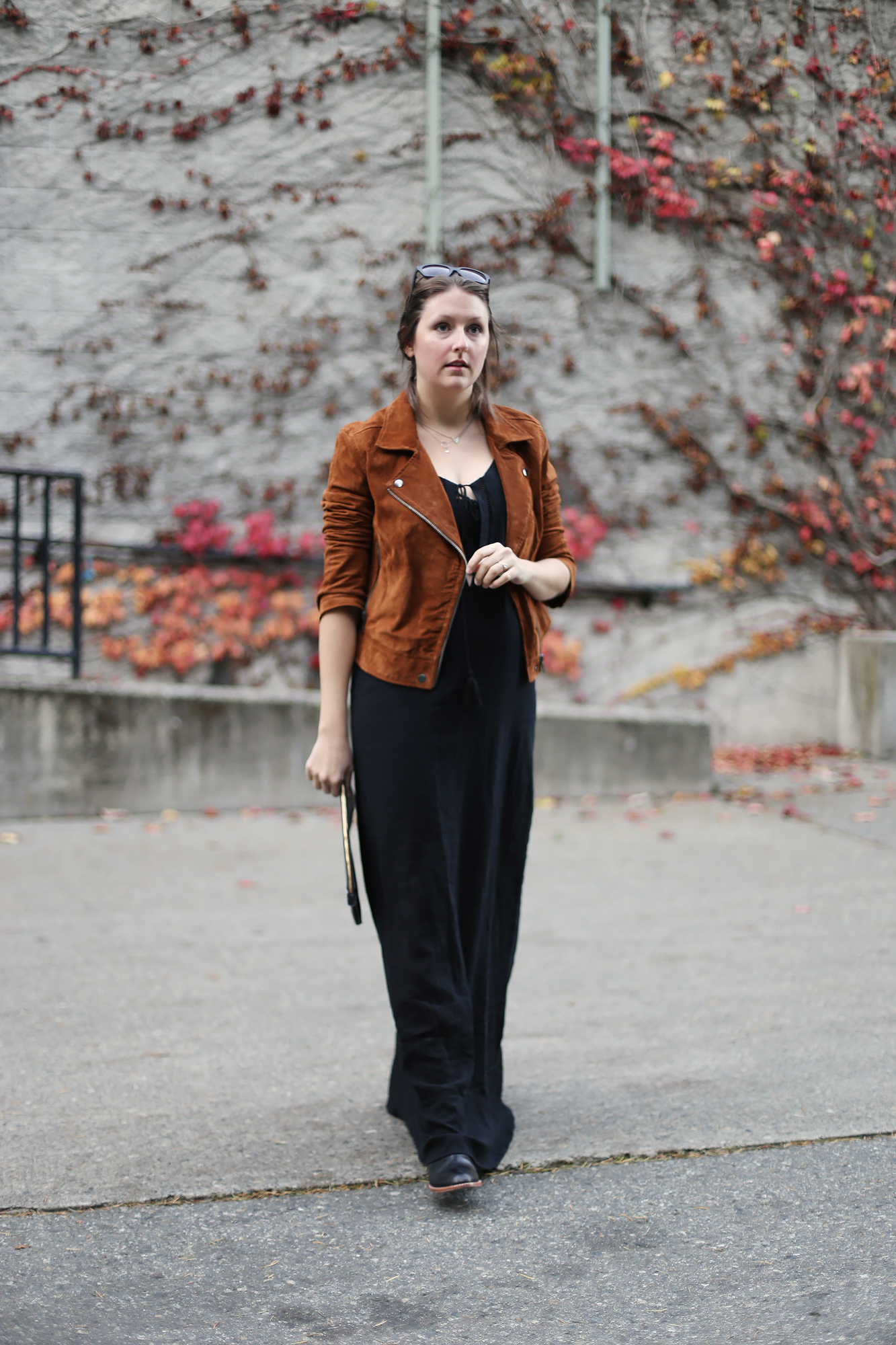 Minimalist fashion and street style: suede motorcycle jacket, black maxi dress (on sale!), and black sigerson morrison booties.