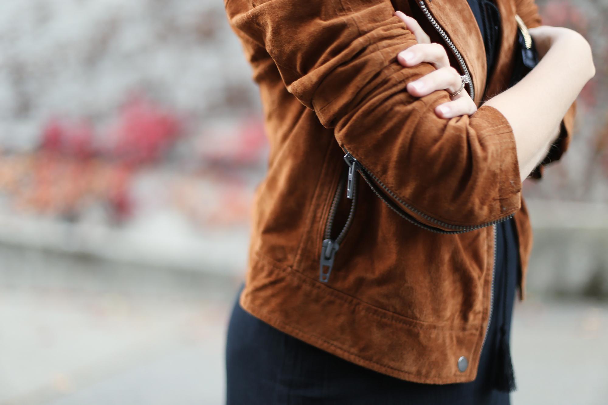 Ladies brown suede jacket details - amazing blank nyc suede moto jacket.